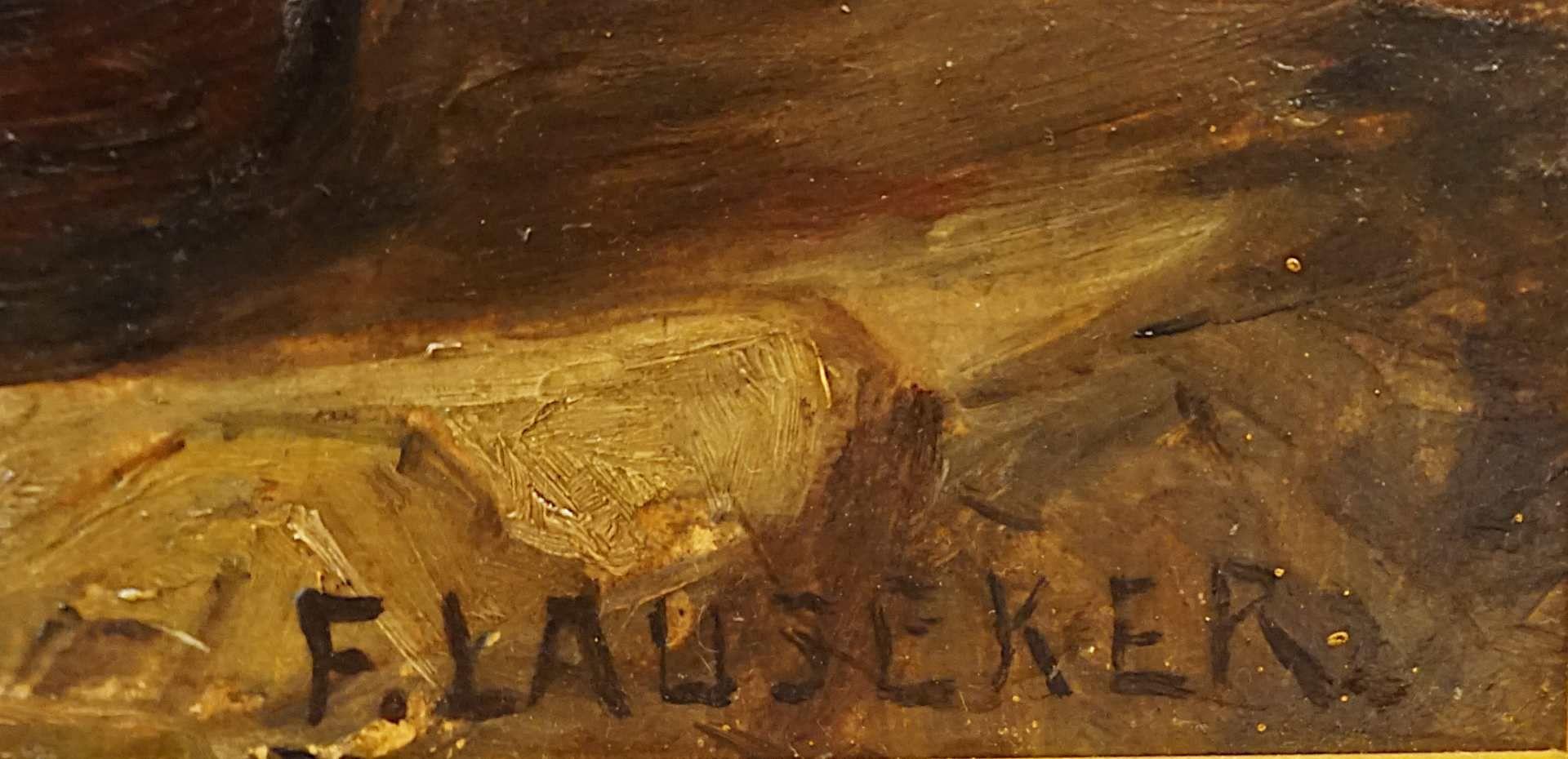 """1 Ölgemälde """"Goldrutenstrauß mit Kupferkanne und Folianten"""" R.u. sign. F. LAUSEKER <b - Bild 3 aus 4"""