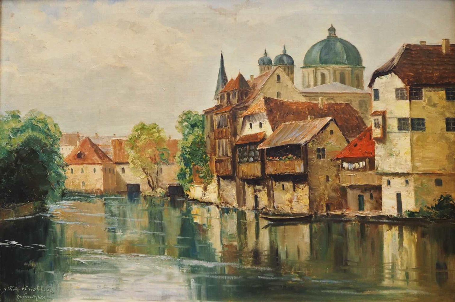 """1 Ölgemälde L.u. sign. Rolf KNOBLOCH (wohl 1891-1964), """"Ansicht von Alt-Nürnberg mit Synagoge"""