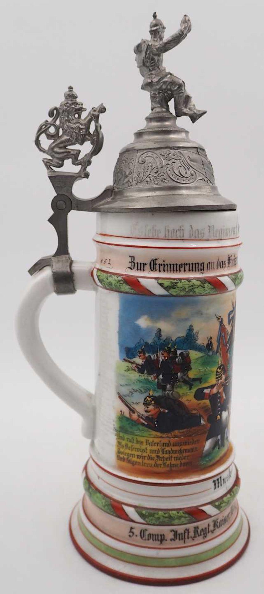 """1 Reservistenkrug Porzellan bezeichnet """"5. Comp. Inft. Regt. Kaiser Wilh. 2. Großh. Hess. Nr. 1 - Bild 3 aus 7"""