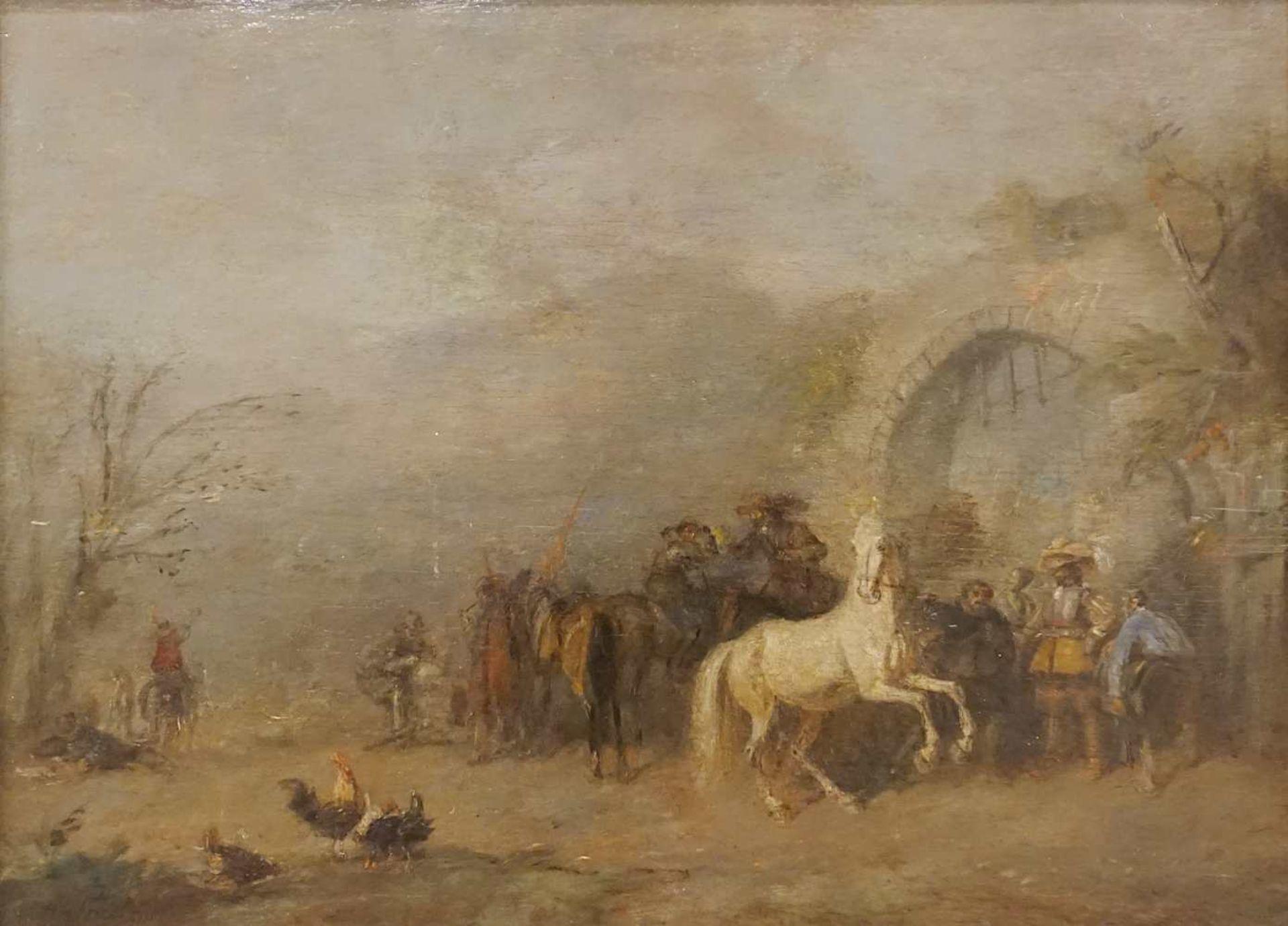 """1 Ölgemälde """"Landsknechte"""" L.u. sign. A. FRIEDLÄNDER (wohl Alfred F. 1860-c. 1927/3"""