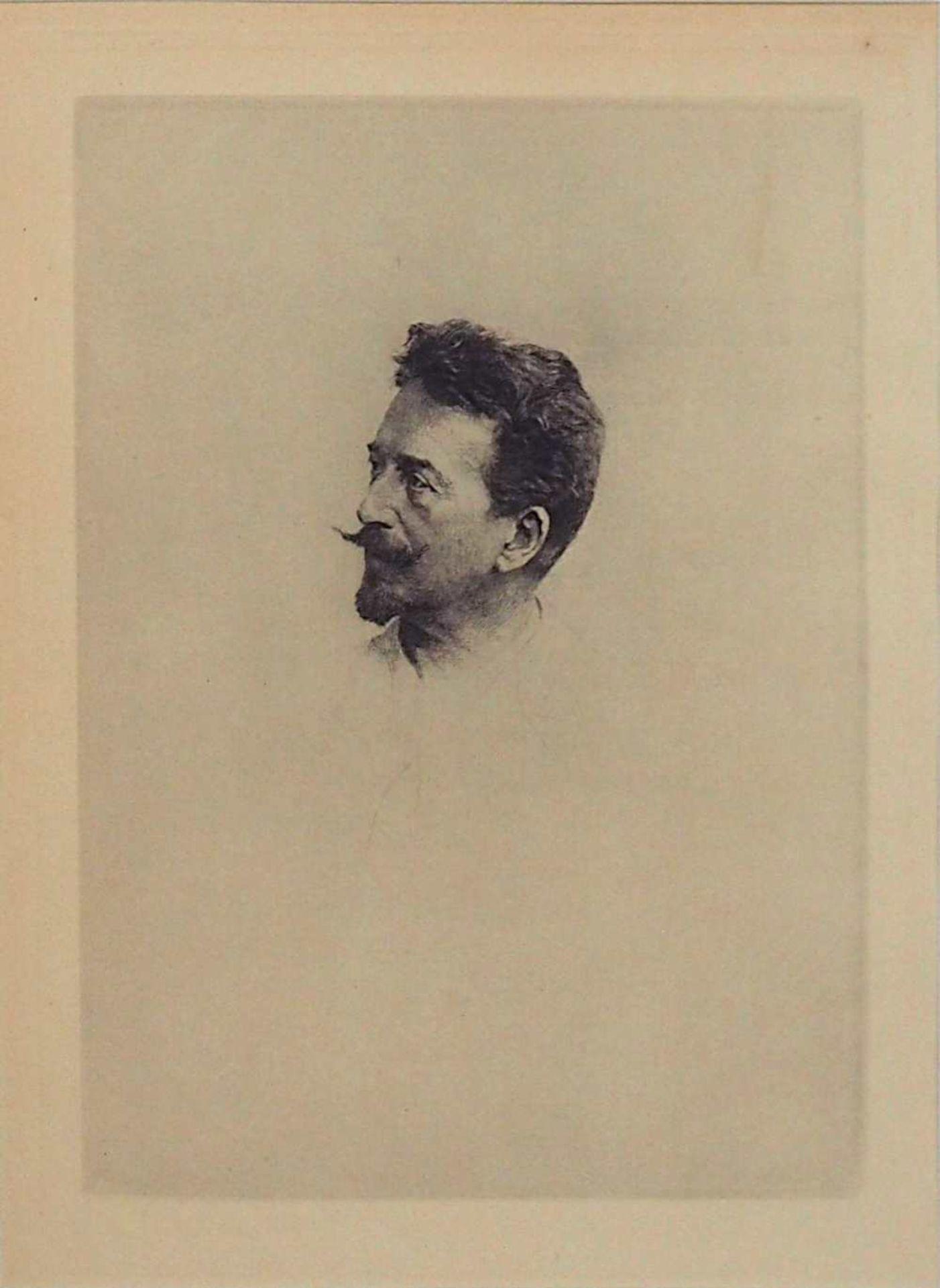 """1 Radierung """"Portrait von Rops"""" rücks. zugeschr. Félicien ROPS (wohl 1833-1898) auf"""