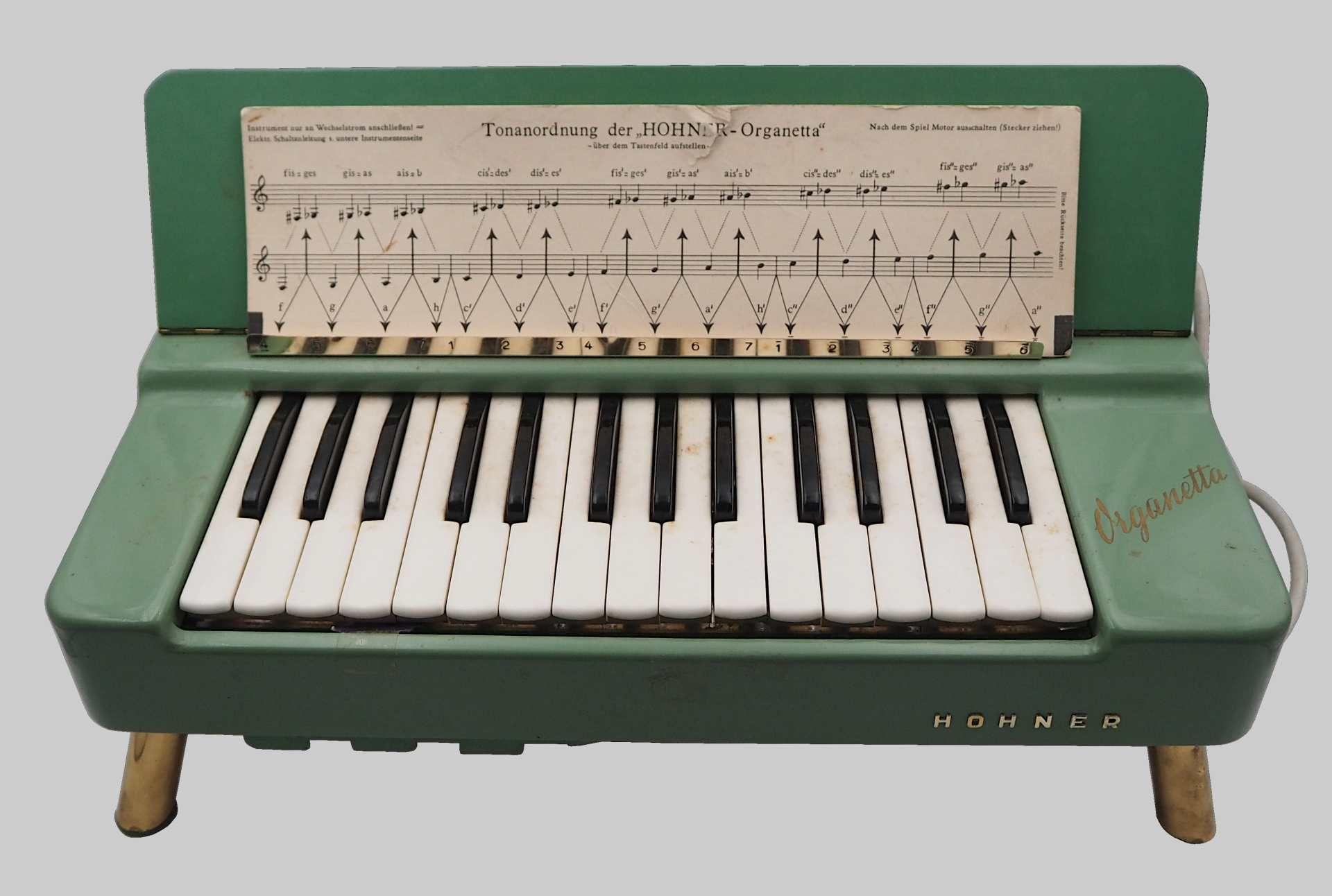 """1 Tischorgel HOHNER """"Organetta"""" wohl um 1958 Korpus lackierte Fichte, 29 Tasten, für"""