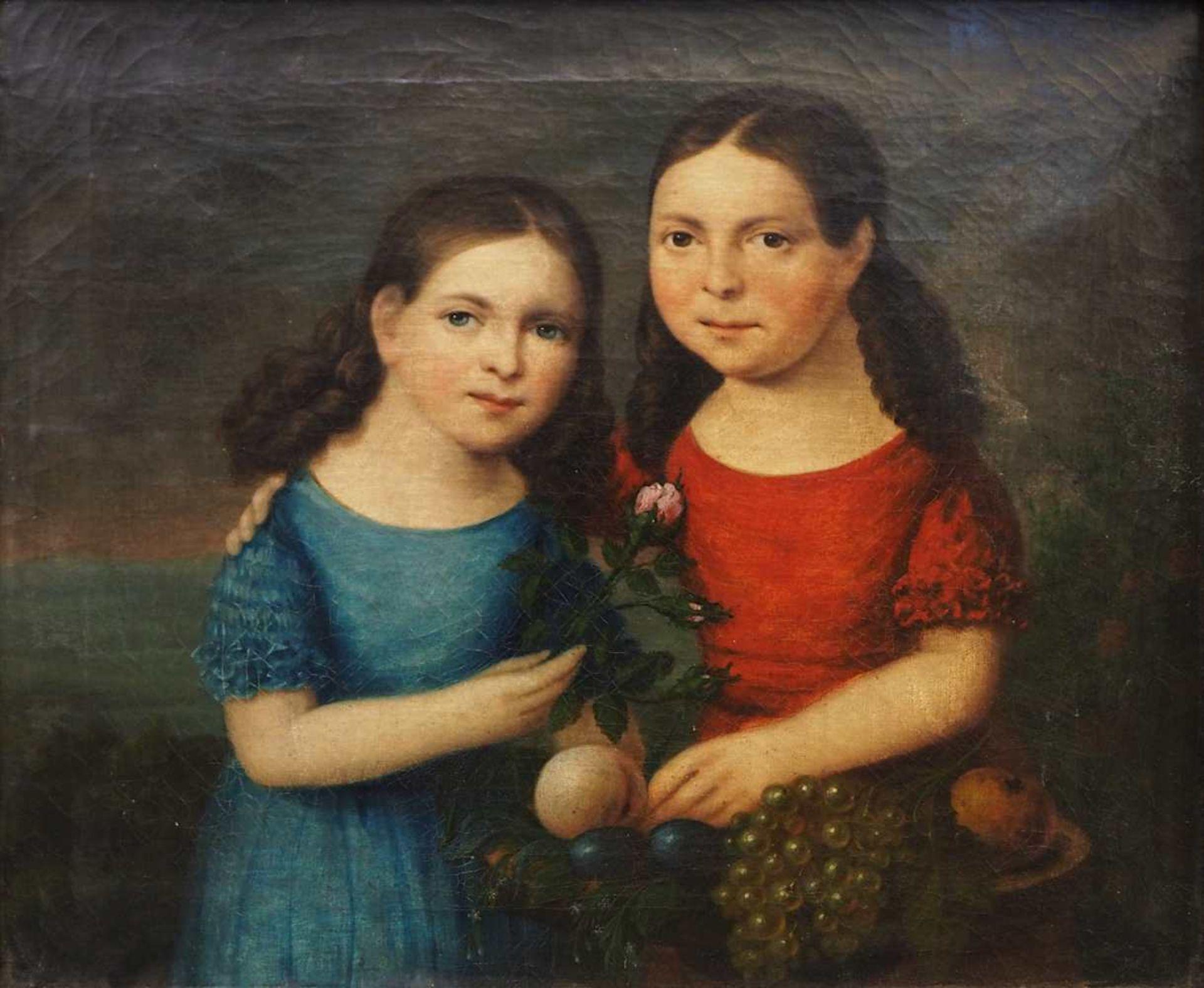 """1 Ölgemälde """"Geschwisterpaar mit Früchtekorb, Vergissmeinnicht und Rose"""" unsign. wohl Biederm"""