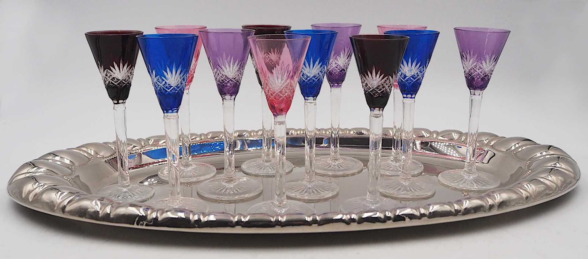 12 Likörgläser Kristall geschliffen, in verschiedenen Farben gefasst H je ca. 12cm s - Bild 2 aus 2