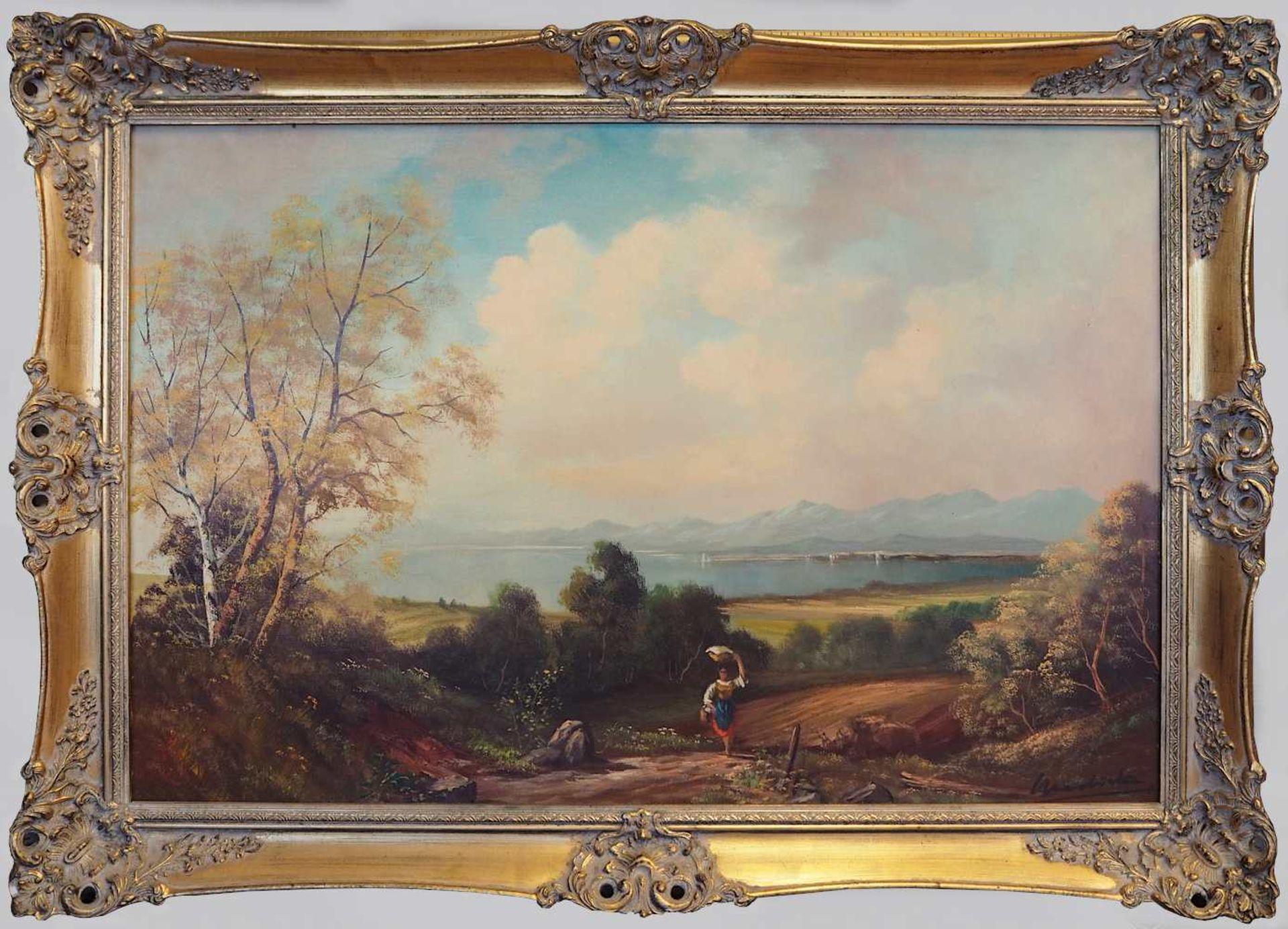 """1 Ölgemälde """"Alpenländische Landschaft"""" R.u. undeutl. sign. Wardrick (?) (wohl - Bild 2 aus 4"""