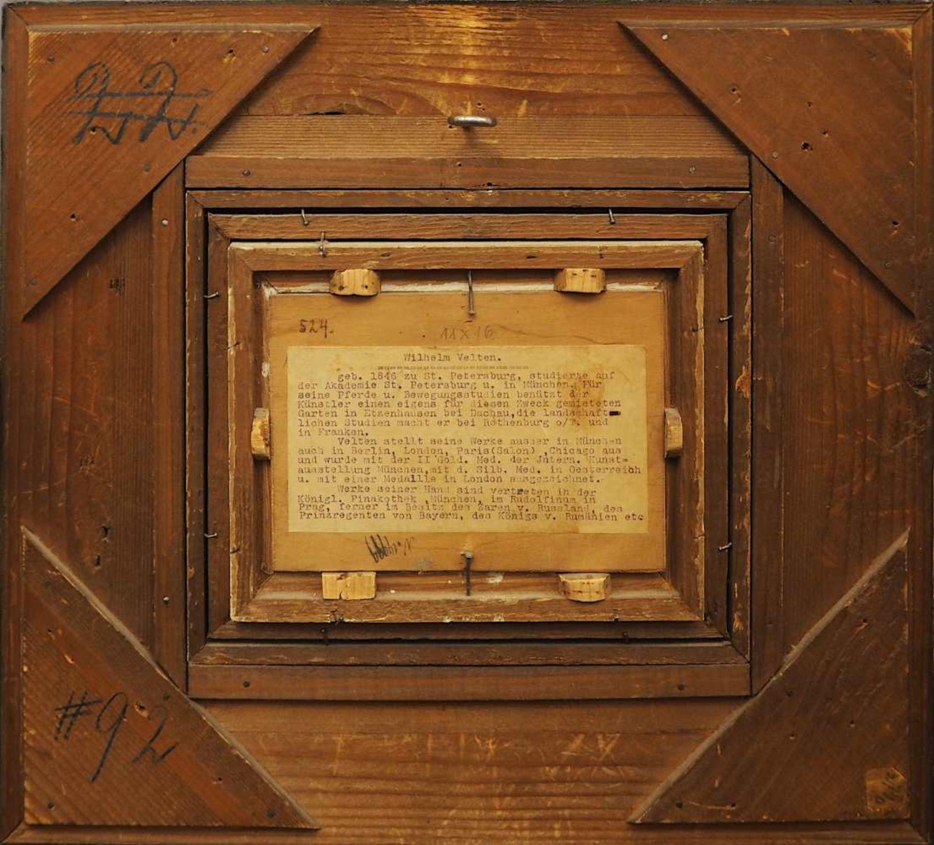 """1 Ölgemälde """"Parforcejagd"""" R.u. sign./auf Ra. bezeichnet W. VELTEN (wohl Wilhelm V. - Bild 4 aus 5"""
