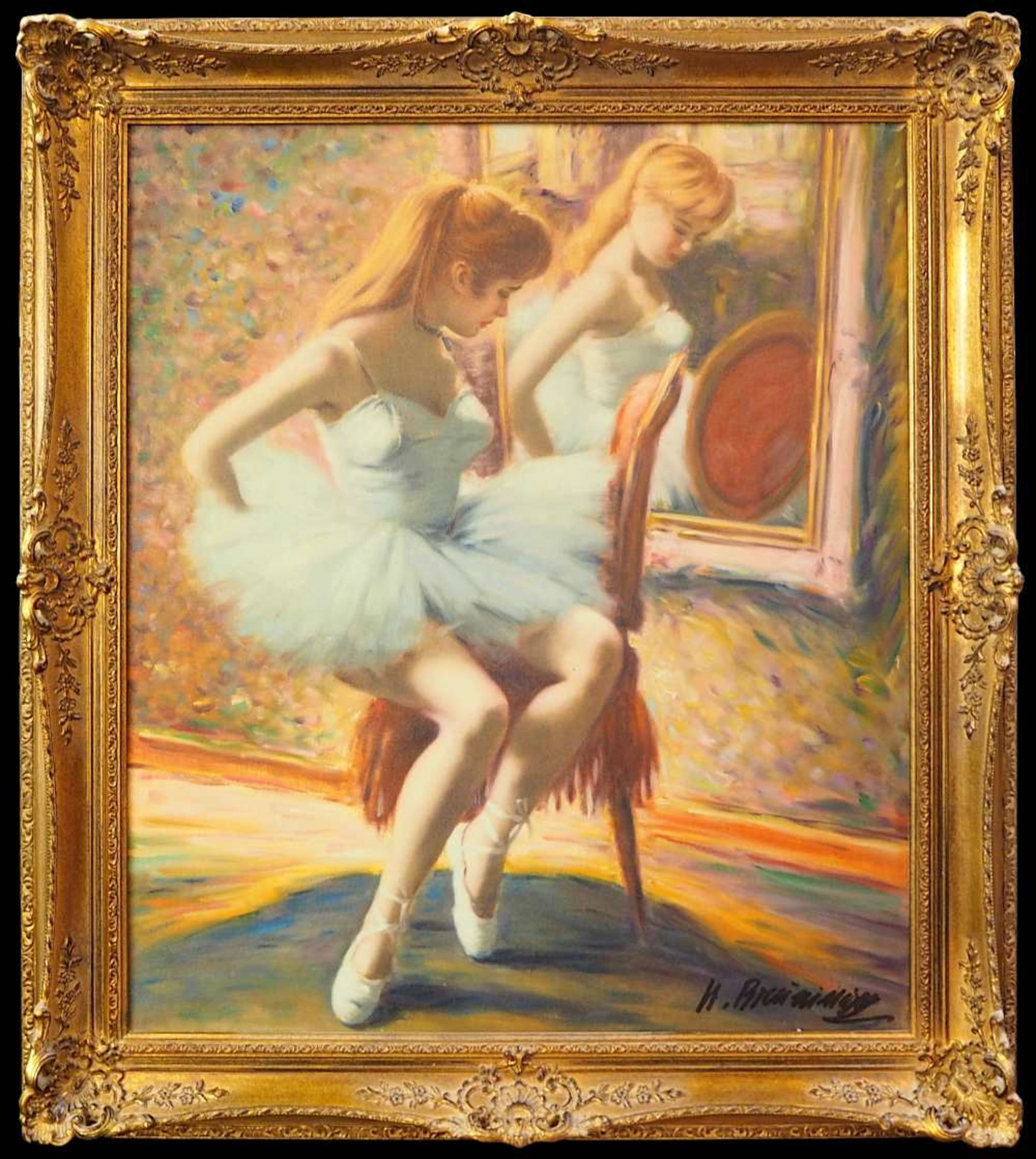 "1 Ölgemälde ""Ballerina im Spiegel"" R.u. sign. H. BREUNINGER (wohl Helmut B. *1921) Öl/Lwd., ca. - Bild 3 aus 4"
