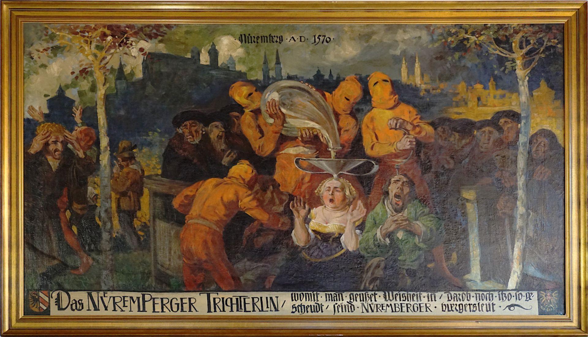 """1 Ölgemälde """"Das Nueremperger Trichterlin (...)"""" L.u. sign. H. BEK-GRAN (wohl Herman"""