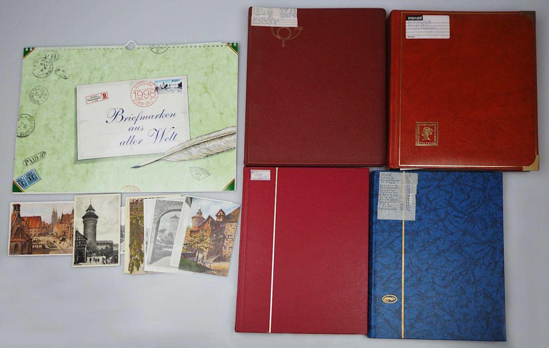 1 Konv. Briefmarken in 4 Alben: Deutsches Reich, BRD, DDR, 3. Reich, Alle Welt sowie 1