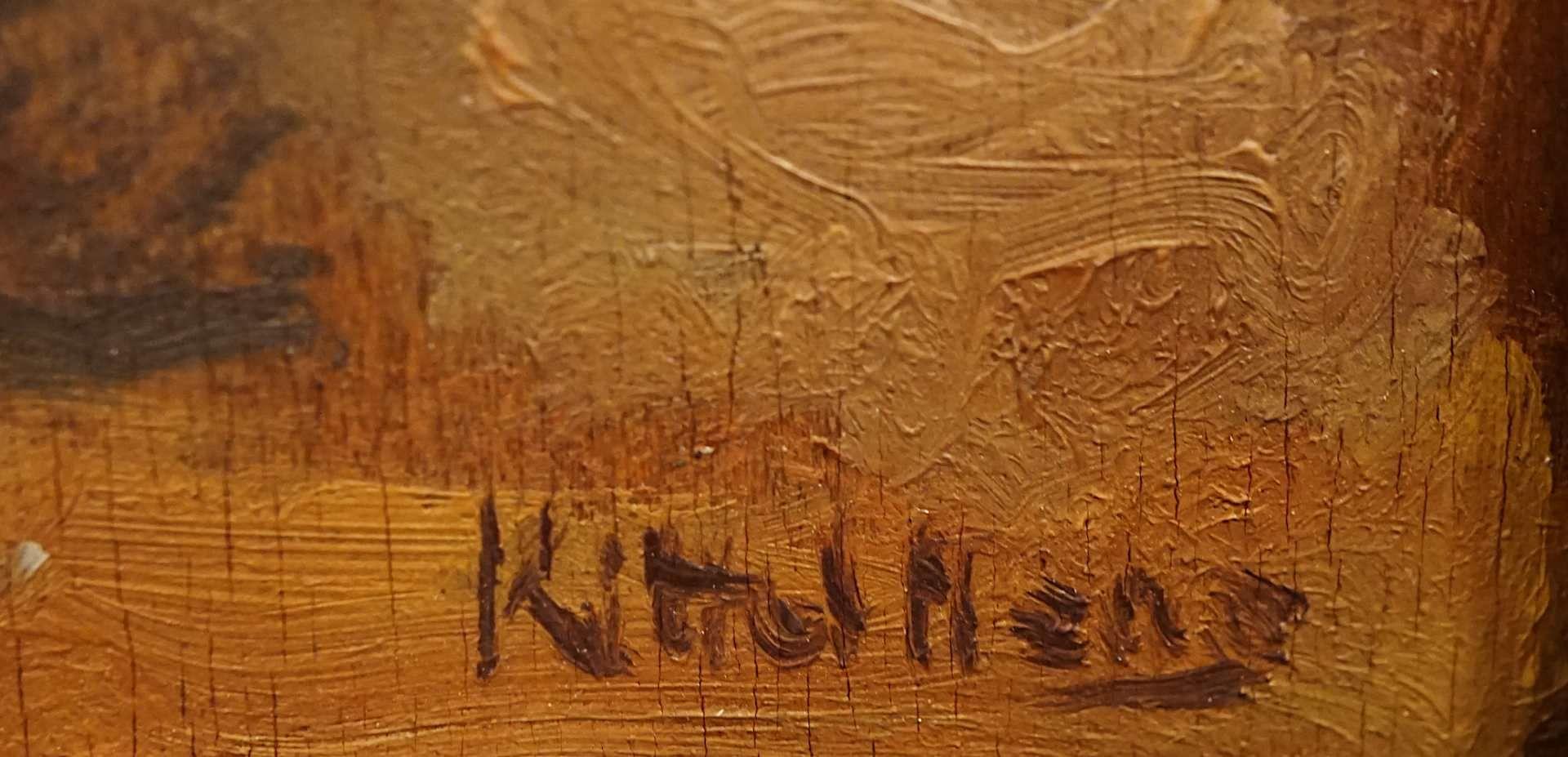 """1 Ölgemälde """"Blumenstillleben mit Orangen"""" R.u. schwer lesbar sign. (wohl 20. Jh.) Öl/Platte, ca. - Bild 3 aus 4"""