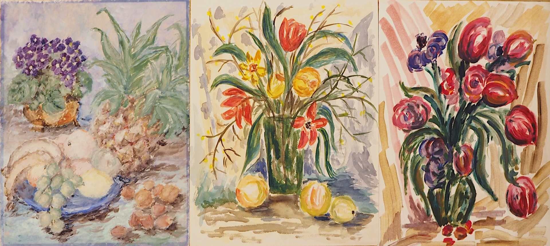 1 Sammlung Aquarelle/Temperamalereien überwiegend der 1960er/1970er Jahre der Künstlerin Mecht - Bild 5 aus 5