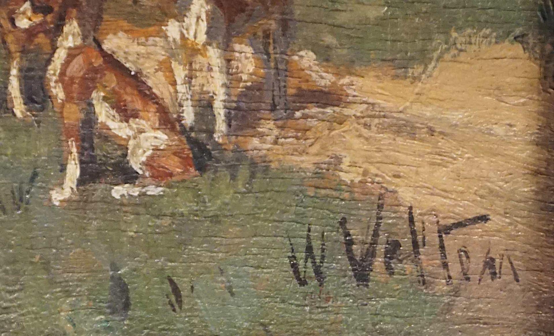 """1 Ölgemälde """"Parforcejagd"""" R.u. sign./auf Ra. bezeichnet W. VELTEN (wohl Wilhelm V. - Bild 3 aus 5"""