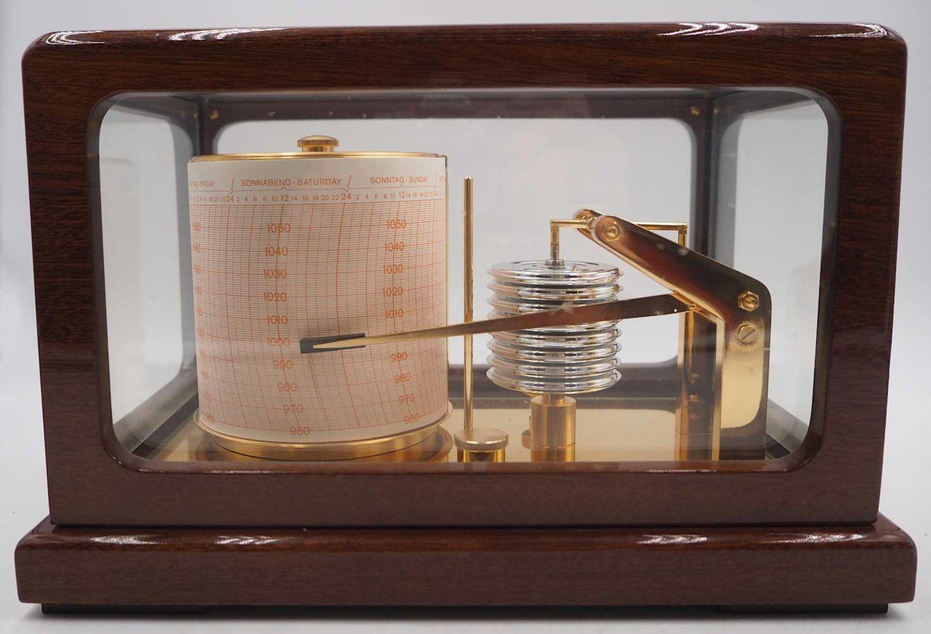 1 Trommelbarograph WEMPE CHRONOMETERWERKE GmbH, 20. Jh. wohl Mahagoni-Gehäuse allseit - Bild 4 aus 6