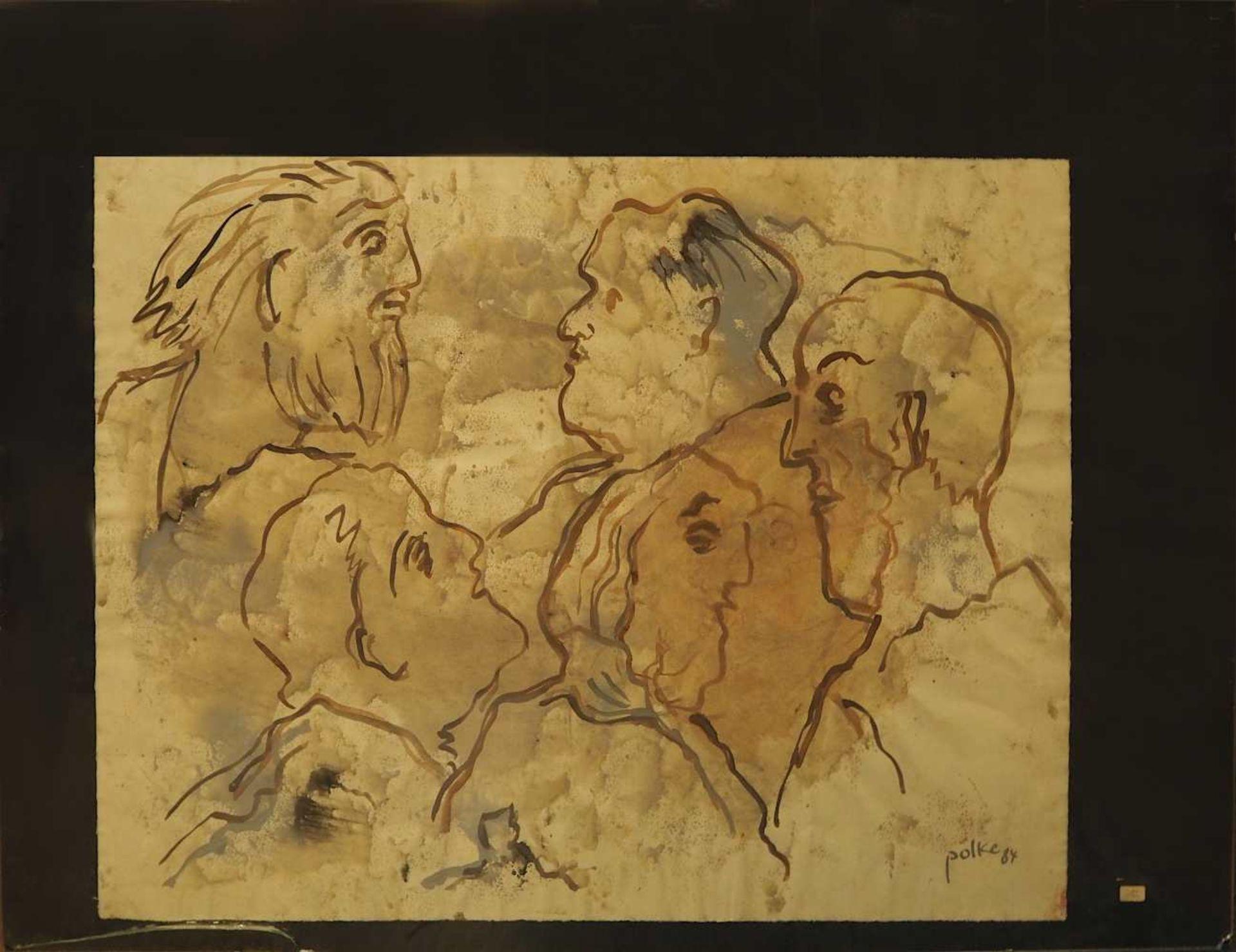 """1 Aquarell """"Spitzen der Gesellschaft"""" R.u. sign. POLKE (wohl Wilfrid P. 1932-2014) R.u - Bild 2 aus 3"""