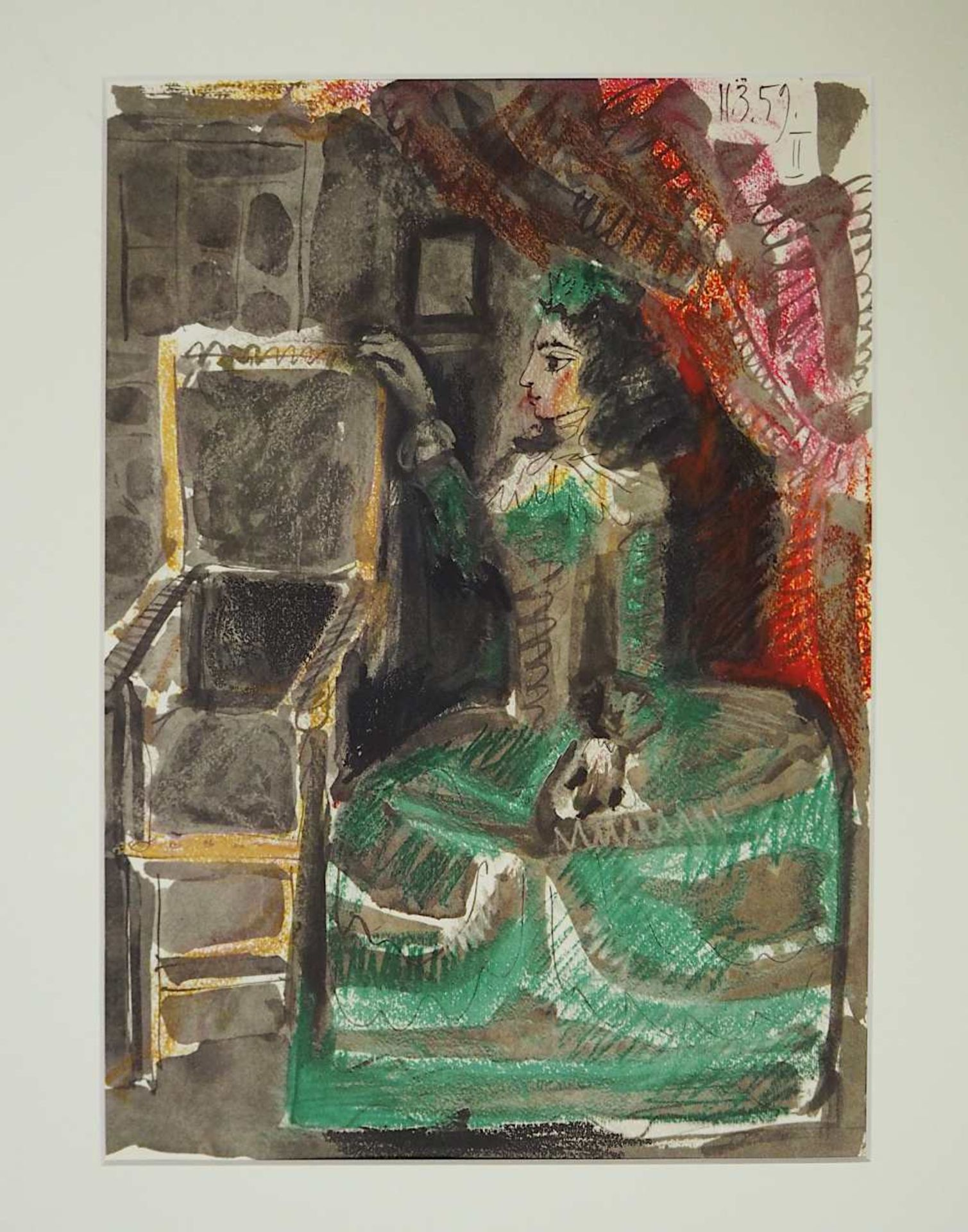 """1 Farbheliogravure """"Jacqueline en costume d'époque"""" rücks. zugeschrieben Pablo PICASSO <br"""