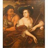 """1 Ölgemälde """"Arkadisches Schäferpaar"""" zugeschrieben Jan TILIUS, (wohl 1660-1719 Her"""