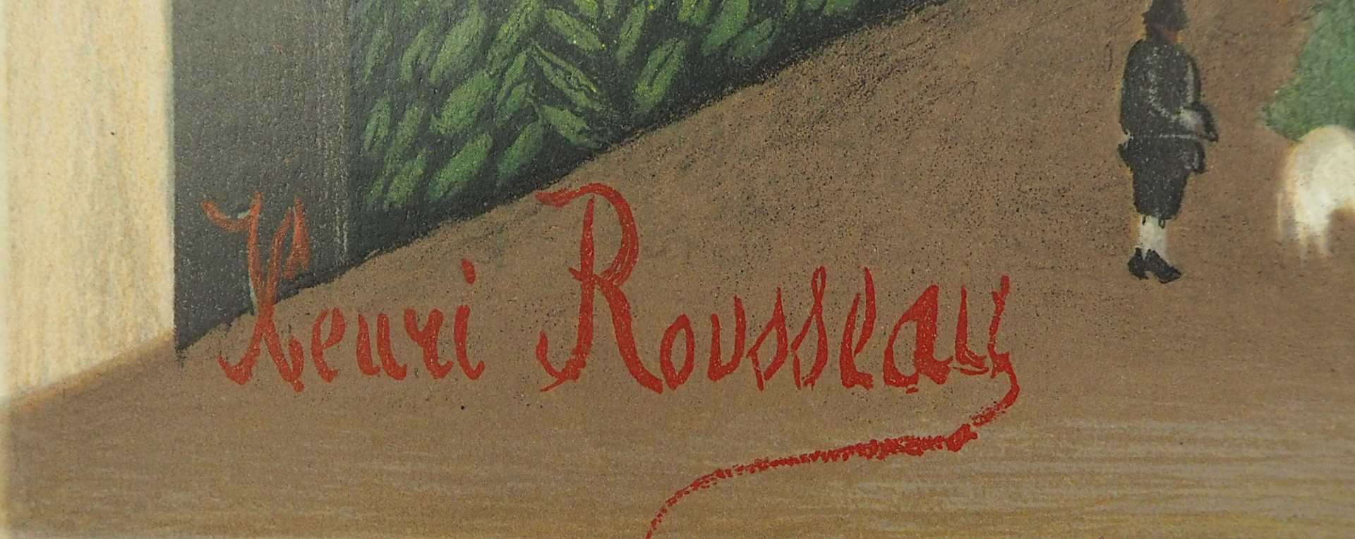 "1 Farblithographie ""La rue"" L.u. in Stein sign. Henri ROUSSEAU (wohl 1844-1910) aus: "" - Bild 2 aus 3"