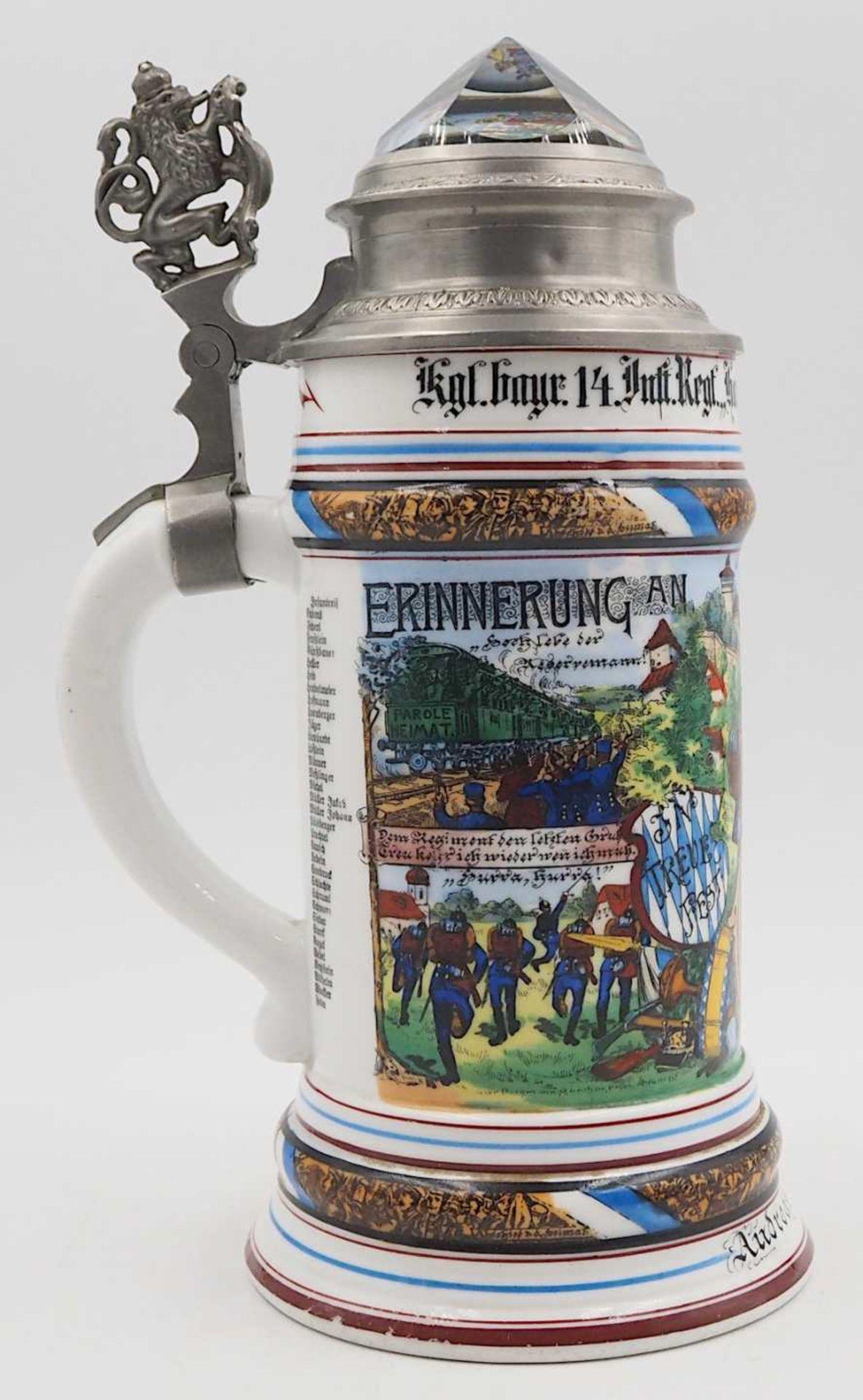 """1 Reservistenkrug """"Kgl. bayr. 14. Inft. Regt. """"Hartmann"""" 7. Comp. Nürnberg 1904-06"""" W - Bild 5 aus 6"""