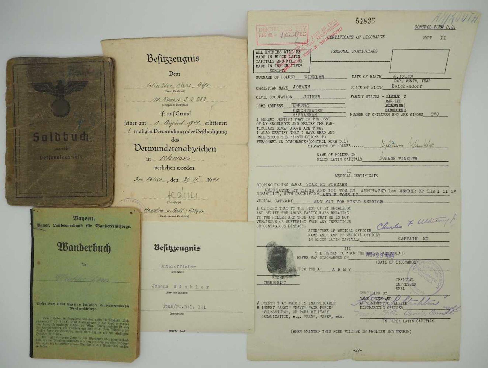 1 Konv. Militaria des Unteroffiziers Johann WINKLER (Brückenbauzug Pi. Btl. 131) 2. WK u.a.:</b - Bild 2 aus 2