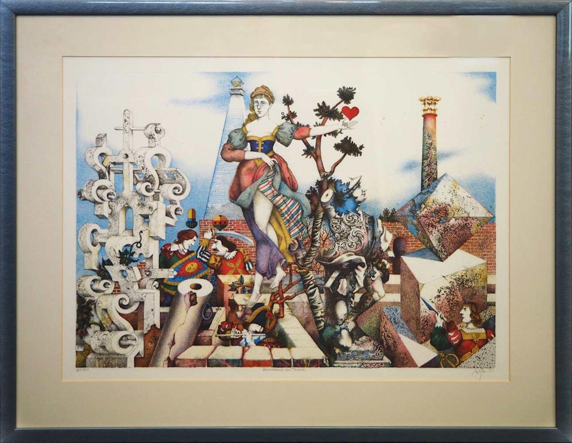 """1 Farblithografie R.u. bleistiftsign. M. M. PRECHTL (wohl Michael Mathias P. 1926-2003), """"Herzda - Bild 2 aus 5"""