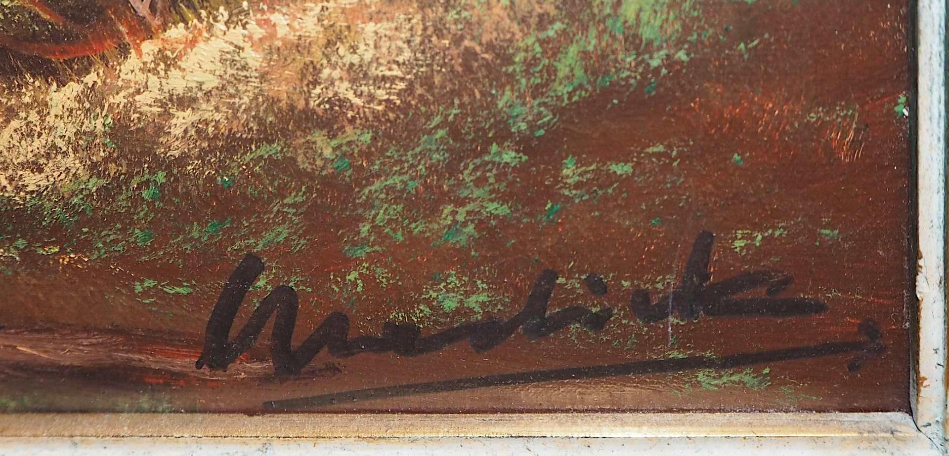 """1 Ölgemälde """"Alpenländische Landschaft"""" R.u. undeutl. sign. Wardrick (?) (wohl - Bild 3 aus 4"""