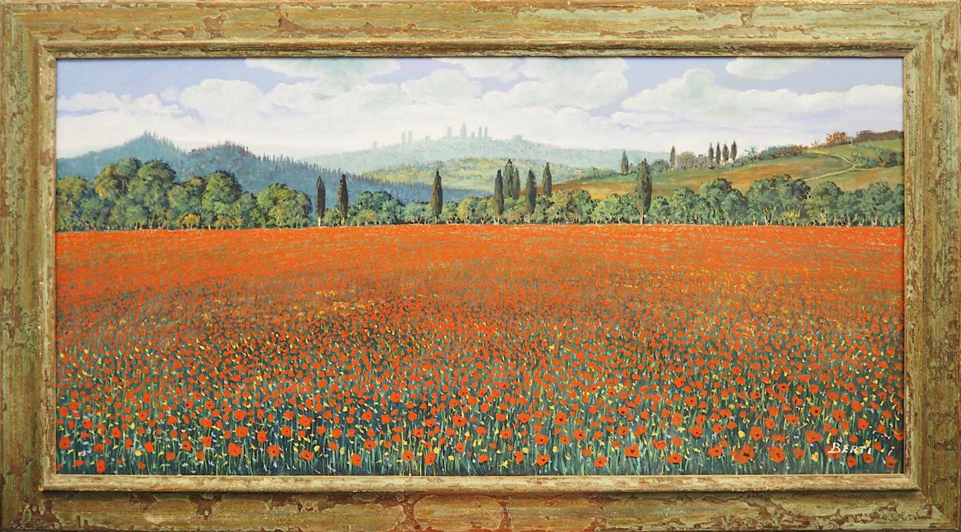 "1 Ölgemälde ""Campo di Papaveri in Toscana"" R.u. sign. BERTI (wohl Antonio B. 1904-19 - Bild 2 aus 5"
