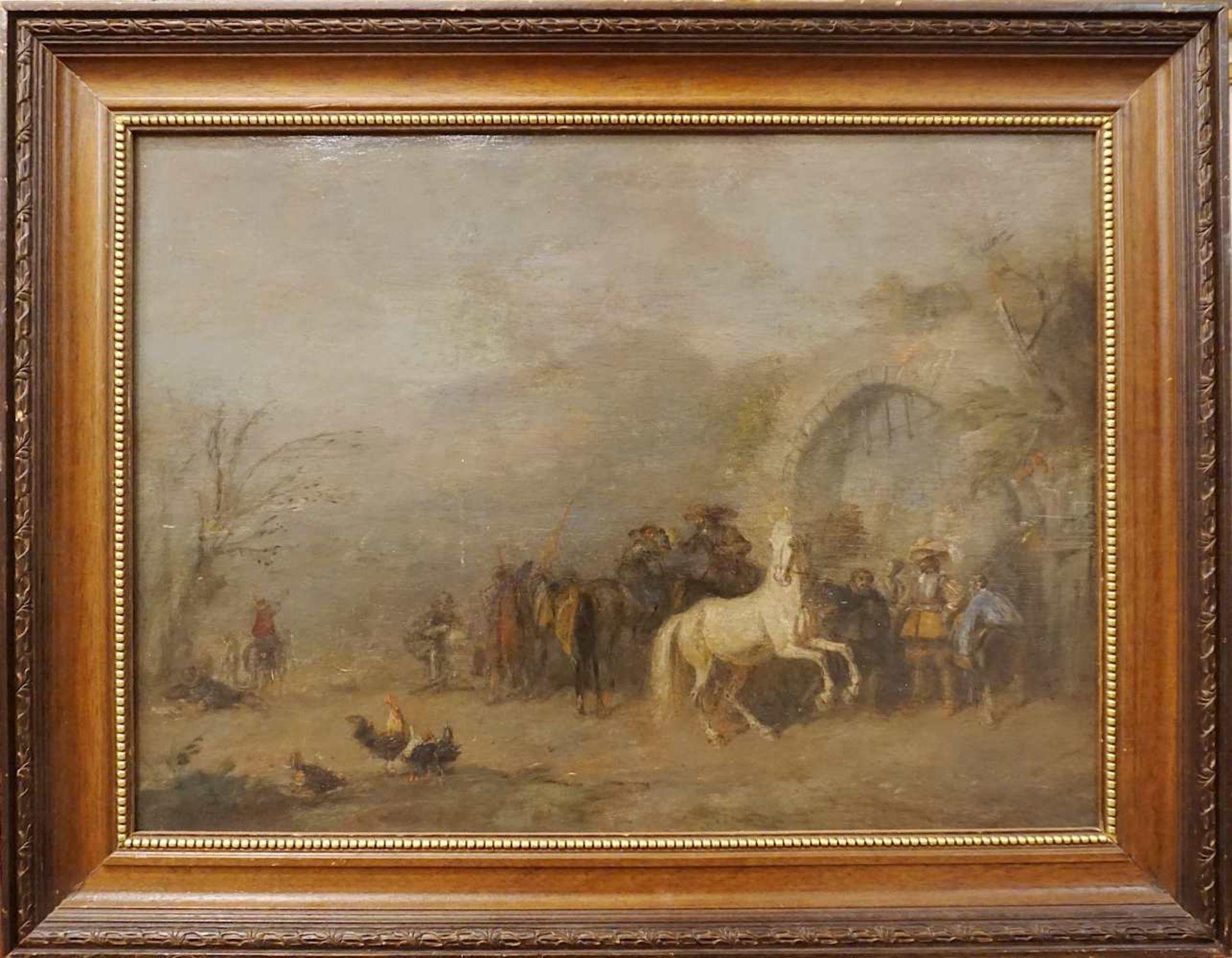 """1 Ölgemälde """"Landsknechte"""" L.u. sign. A. FRIEDLÄNDER (wohl Alfred F. 1860-c. 1927/3 - Bild 2 aus 3"""
