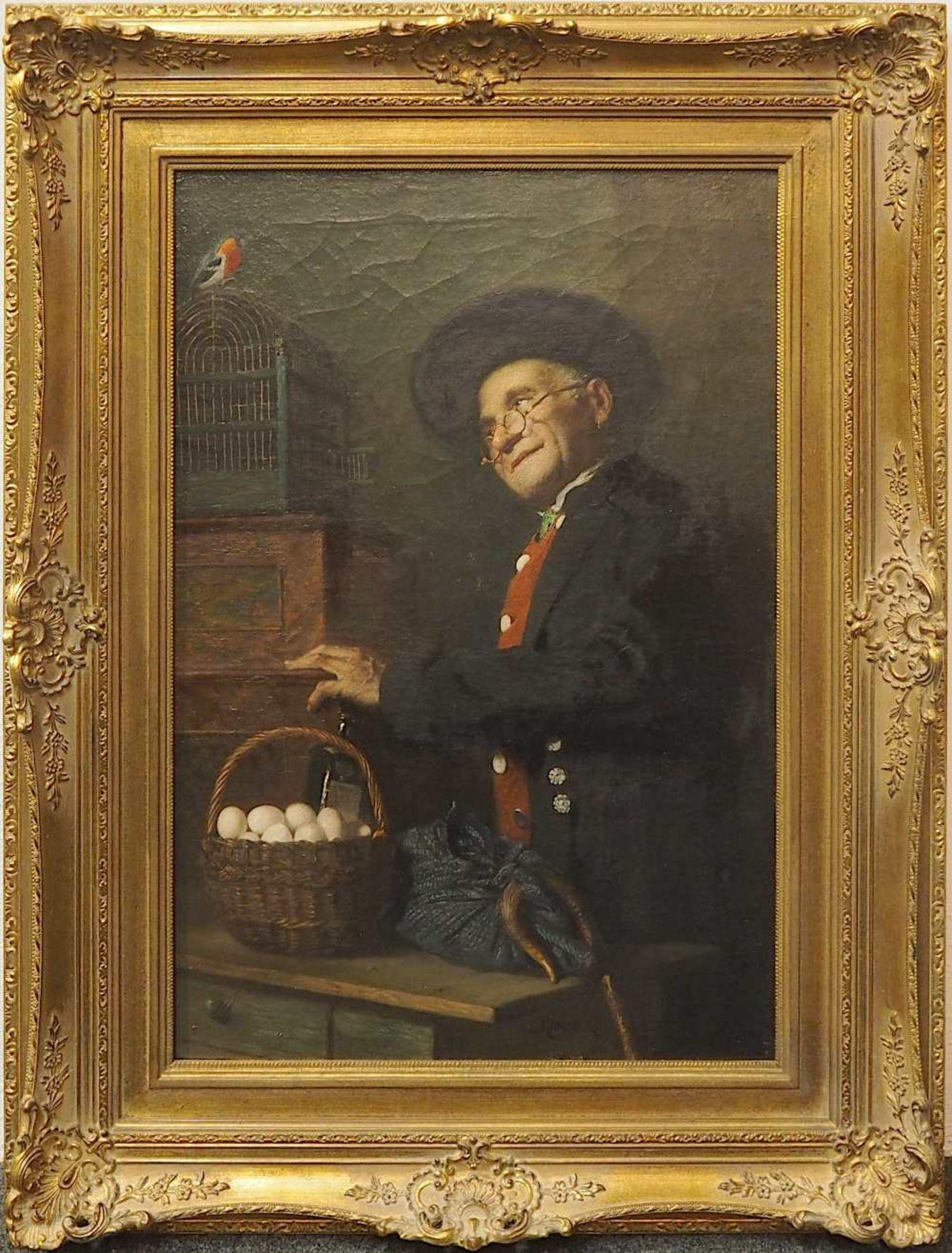 """1 Ölgemälde """"Handwerker mit Eiern und Rotkehlchen"""" Mitte unten sign,. KANDLER (wohl - Bild 3 aus 4"""