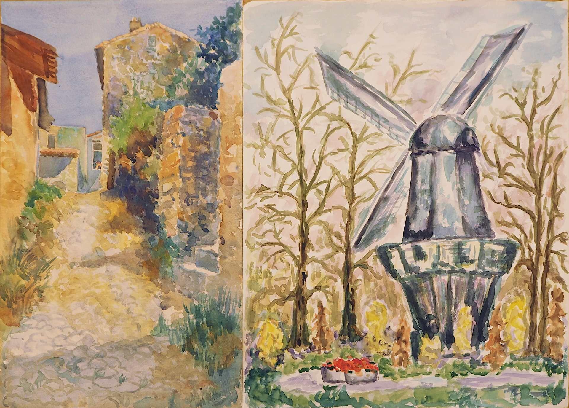1 Sammlung Aquarelle/Temperamalereien überwiegend der 1960er/1970er Jahre der Künstlerin Mecht - Bild 3 aus 5
