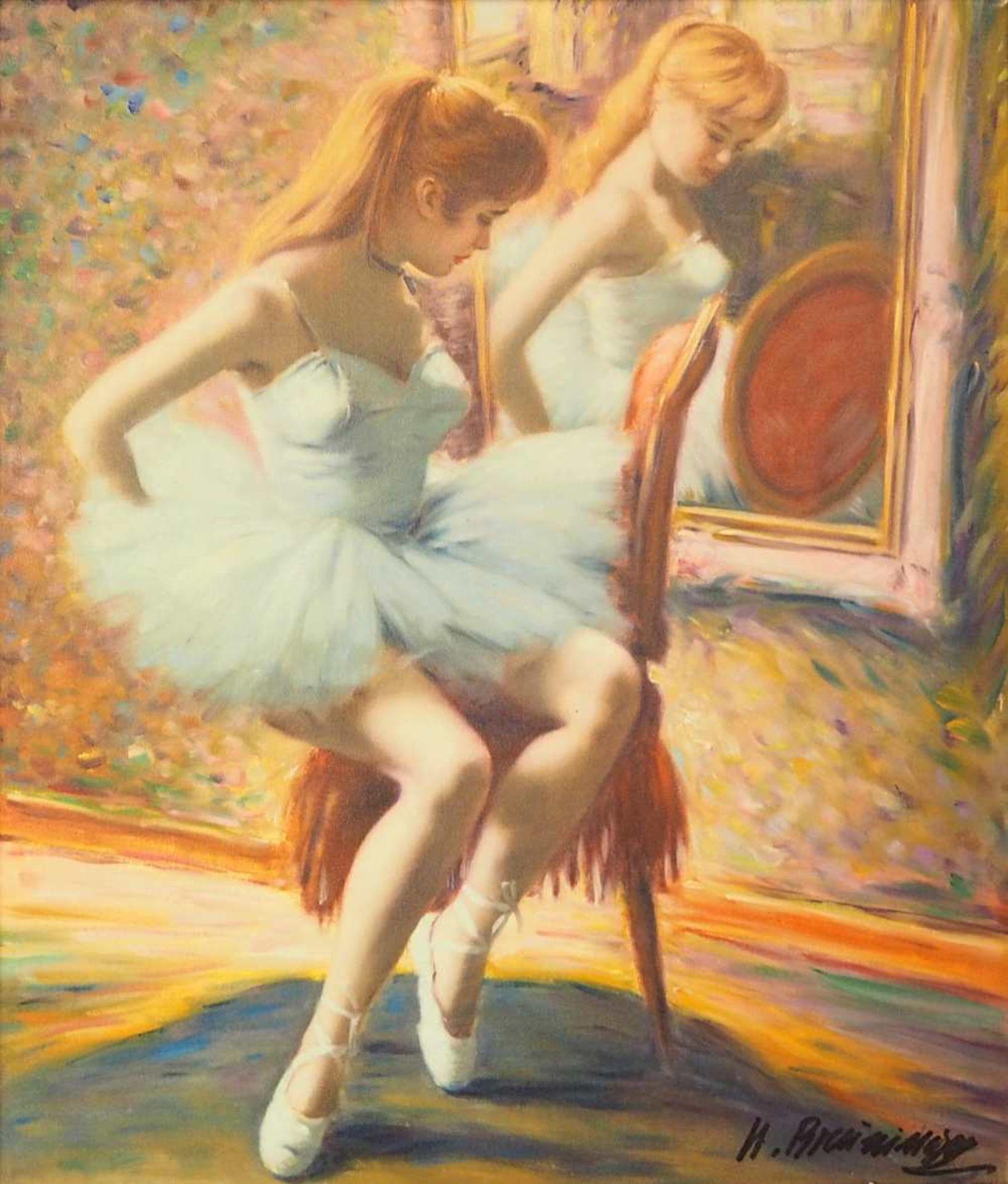 """1 Ölgemälde """"Ballerina im Spiegel"""" R.u. sign. H. BREUNINGER (wohl Helmut B. *1921) Öl/Lwd., ca."""