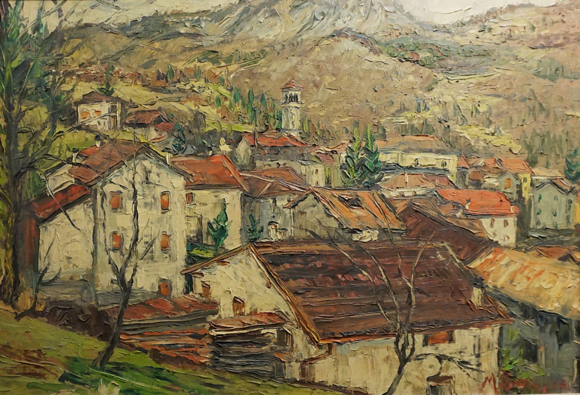 "1 Ölgemälde ""Bergdorf in Südtirol"", R.u. sign. M. ROMANO (wohl Michele R. * 1925),"