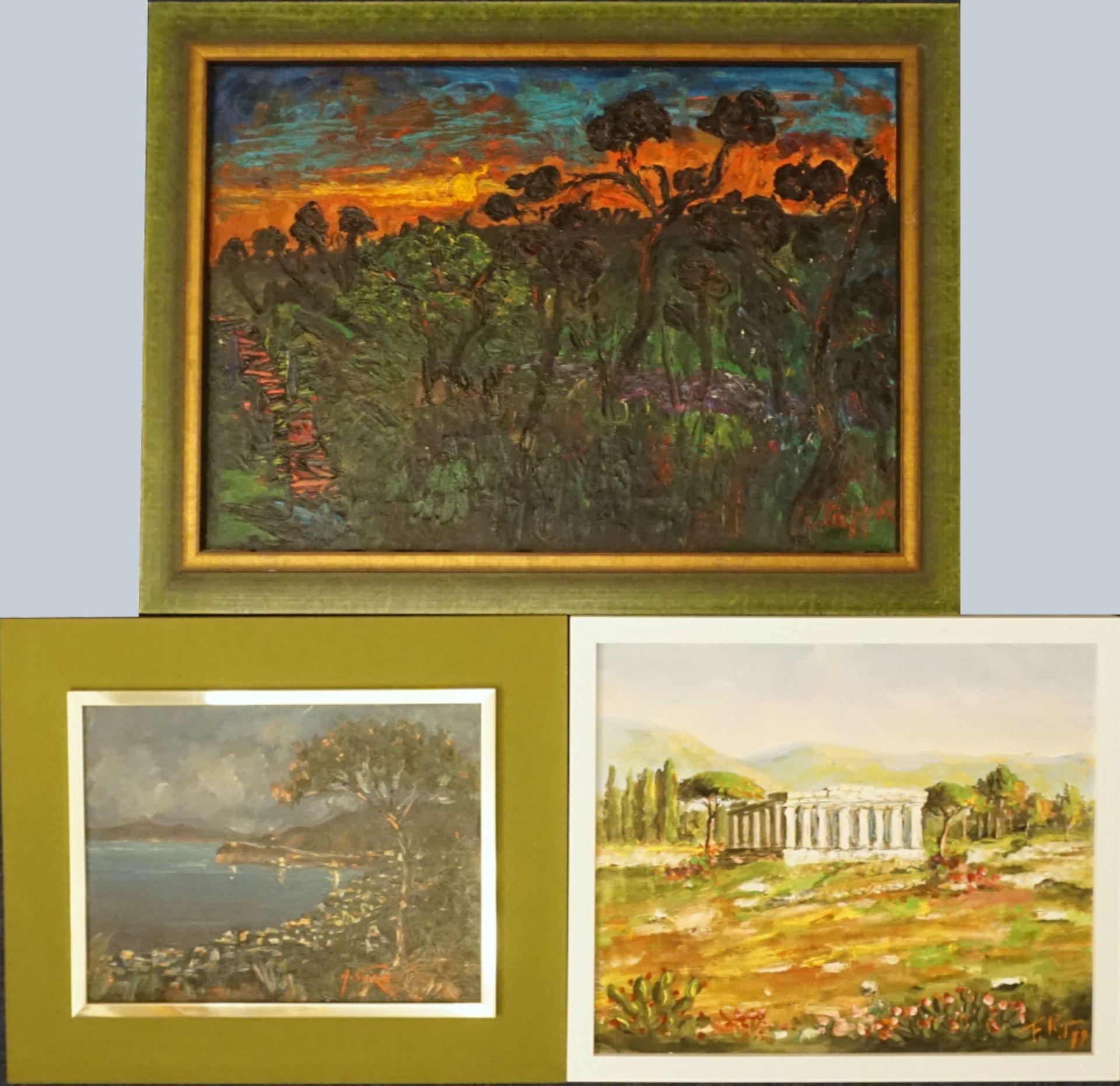 1 Konv. Ölgemälde 20. Jh. mit verschiedenen italienischen Künstlern und Motiven: z. - Bild 3 aus 3
