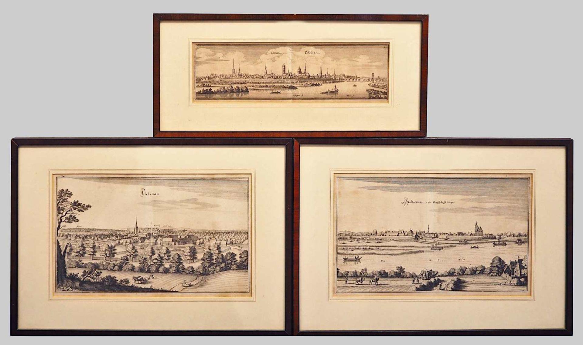 """3 Kupferstiche mit Städtepanoramen aus der """"Topographia"""" des Matthäus MERIAN: """"Minda. Minden."""", ca."""