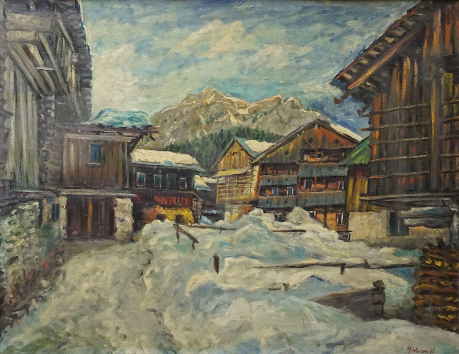 "1 Ölgemälde ""Gebirgsdorf im Schnee"" R.u. sign. M. ROMANO (wohl Michele R. * 1925), d"