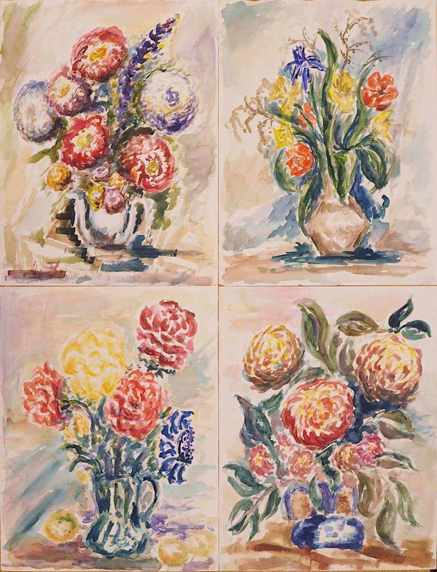 1 Sammlung Aquarelle/Temperamalereien überwiegend der 1960er/1970er Jahre der Künstlerin Mecht - Bild 4 aus 5
