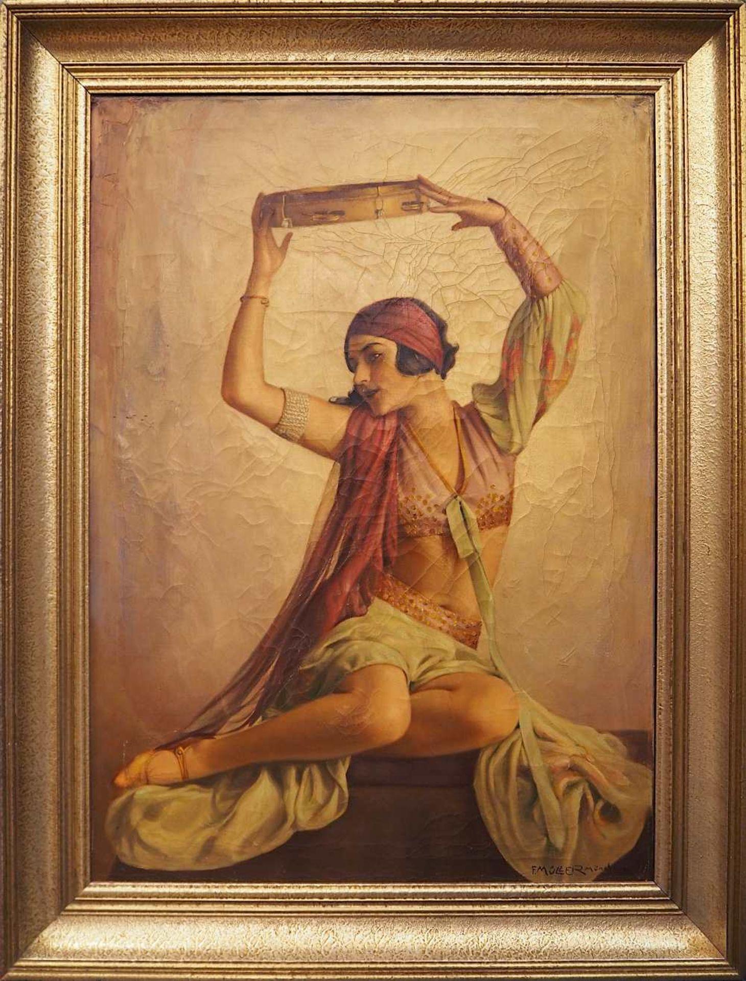 """1 Ölgemälde """"Orientalische Tänzerin mit Tamburin"""" R.u. sign. F. MÜLLER (wohl um 19 - Bild 2 aus 4"""