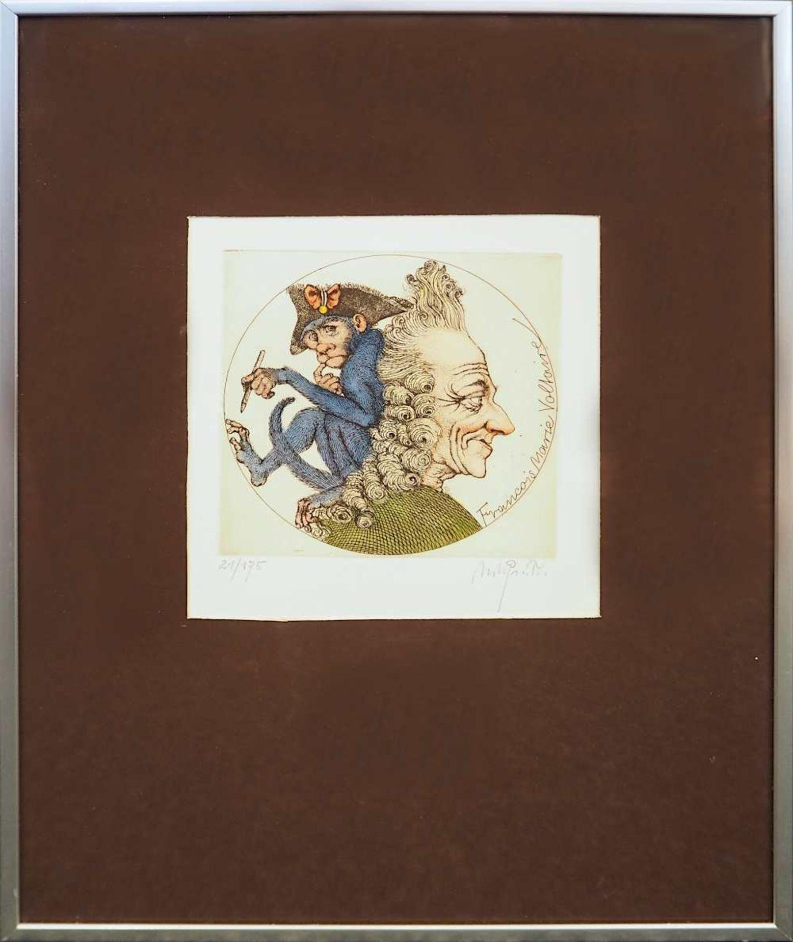 """1 Farbradierung R.u. bleistiftsign. M. M. PRECHTL (wohl Michael Mathias P. 1926-2003), """"Voltaire - Bild 2 aus 5"""