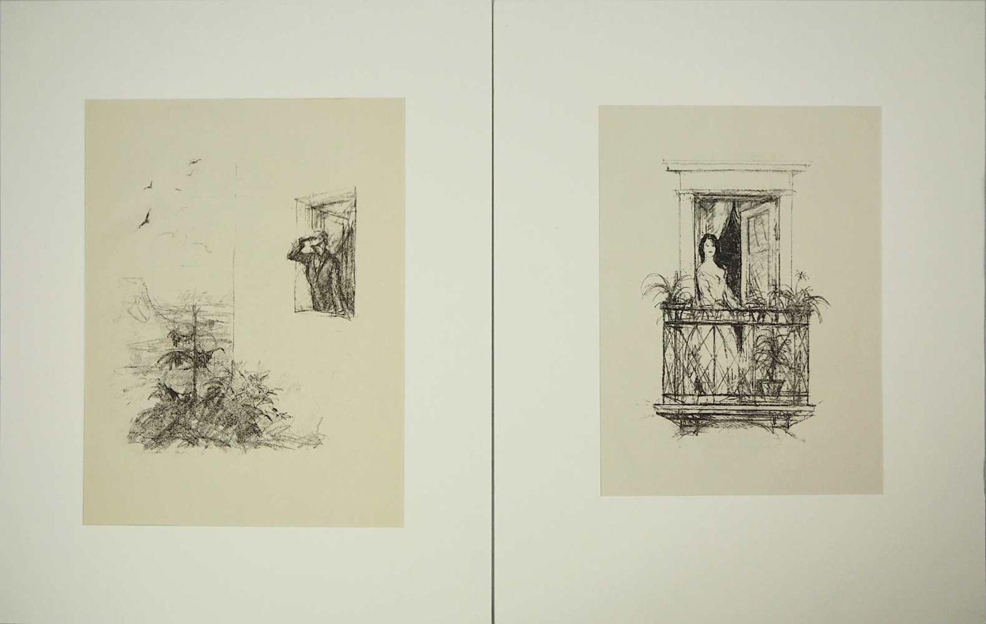 """2 Lithographien """"Sehnsucht"""" und """"Anliegen"""" rücks. zugeschrieben Hans MEID (wohl 1883-"""