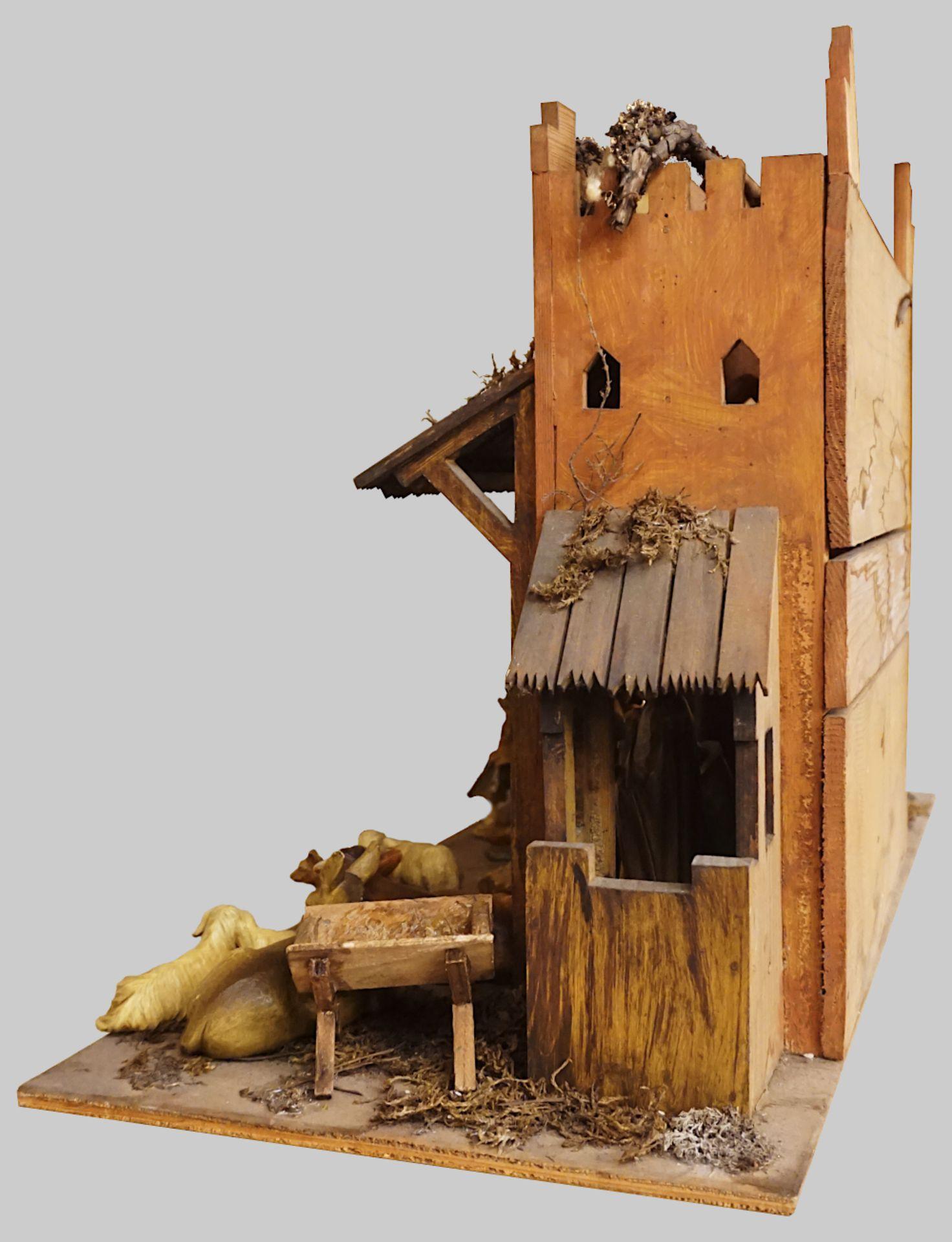1 Krippe mit Figuren Holz, 20. Jh. z.T. gemarkt UNITAS farbig gefasst, Krippe H ca. 4 - Bild 3 aus 6