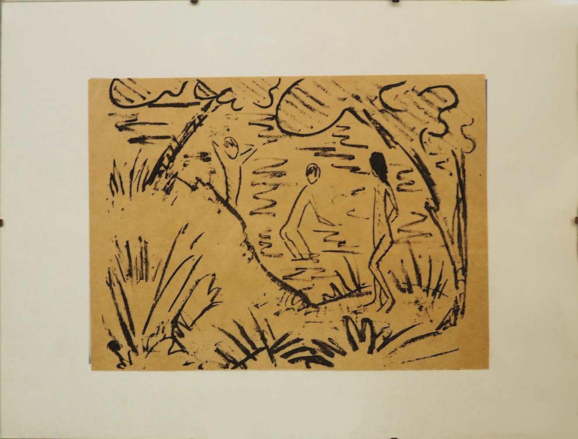 """1 Lithografie unsign. wohl Otto MUELLER (1874-1930), """"Zwei Knaben im Wasser und ein Mädchen am"""