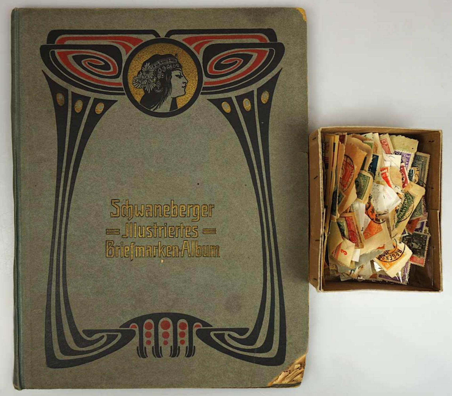 """1 Album """"Schwameberger Illustriertes Briefmarken-Album"""", wohl Jugendstil z.T. bestück"""
