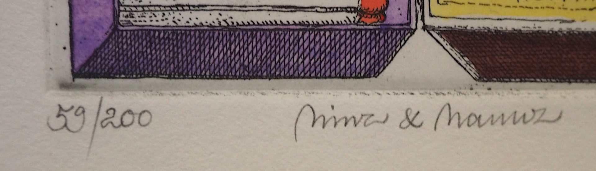 """1 Farbradierung R.u. bleistiftsign. M. M. PRECHTL (wohl Michael Mathias P. 1926-2003), """"Minz und - Bild 4 aus 5"""