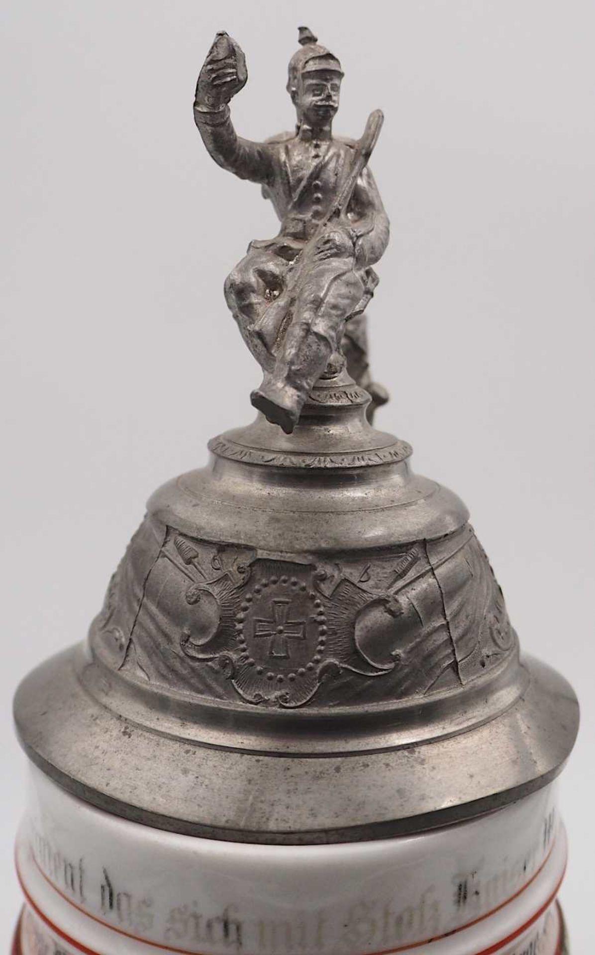 """1 Reservistenkrug Porzellan bezeichnet """"5. Comp. Inft. Regt. Kaiser Wilh. 2. Großh. Hess. Nr. 1 - Bild 7 aus 7"""