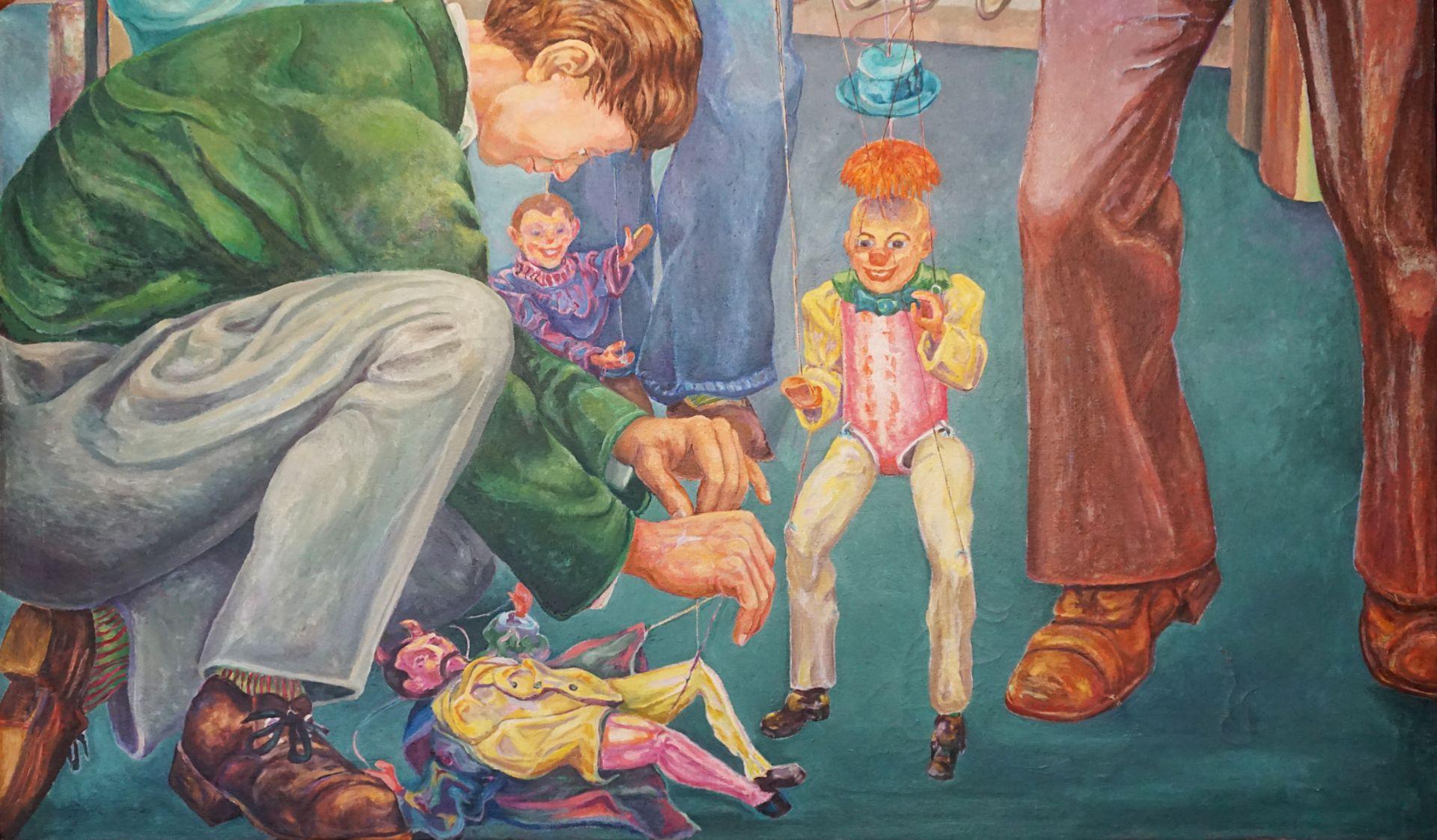 """1 Ölgemälde """"Marionettenspieler"""" L.o. monor. PN (wohl Paul Heinreich NODNAGEL 1928-2 - Bild 2 aus 6"""