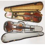 """1 Geige wohl 1. Hälfte 20. Jh., auf Klebezettel bez. """"Meinel&Herold, Klingenthal i. Sa."""" <b"""