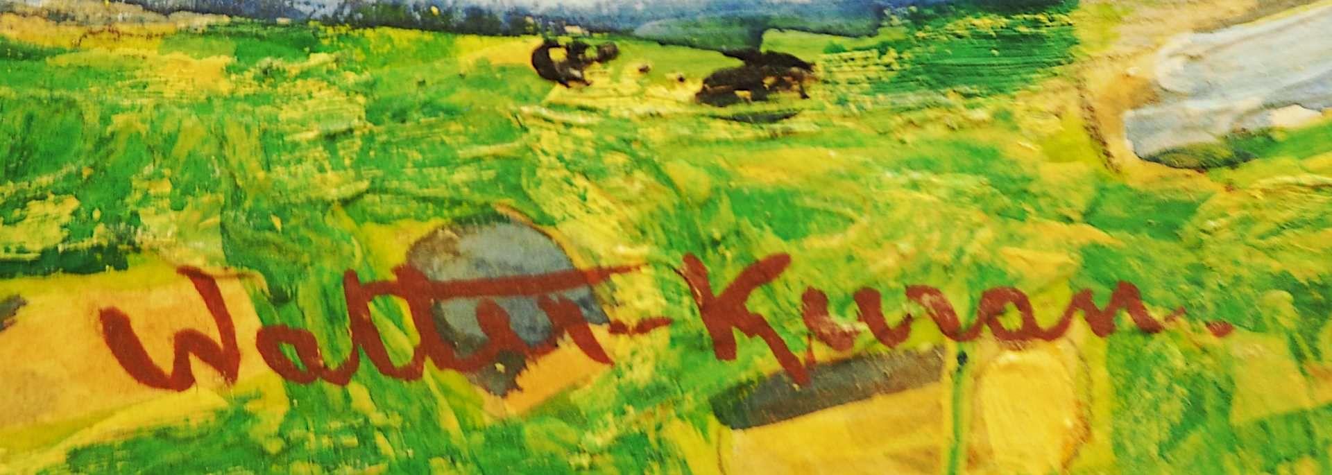 """1 Ölgemälde """"Landschaft mit Sägewerk"""" L.u. bez. Walter KURAU (wohl 20. Jh.) Öl/Lwd - Bild 3 aus 4"""