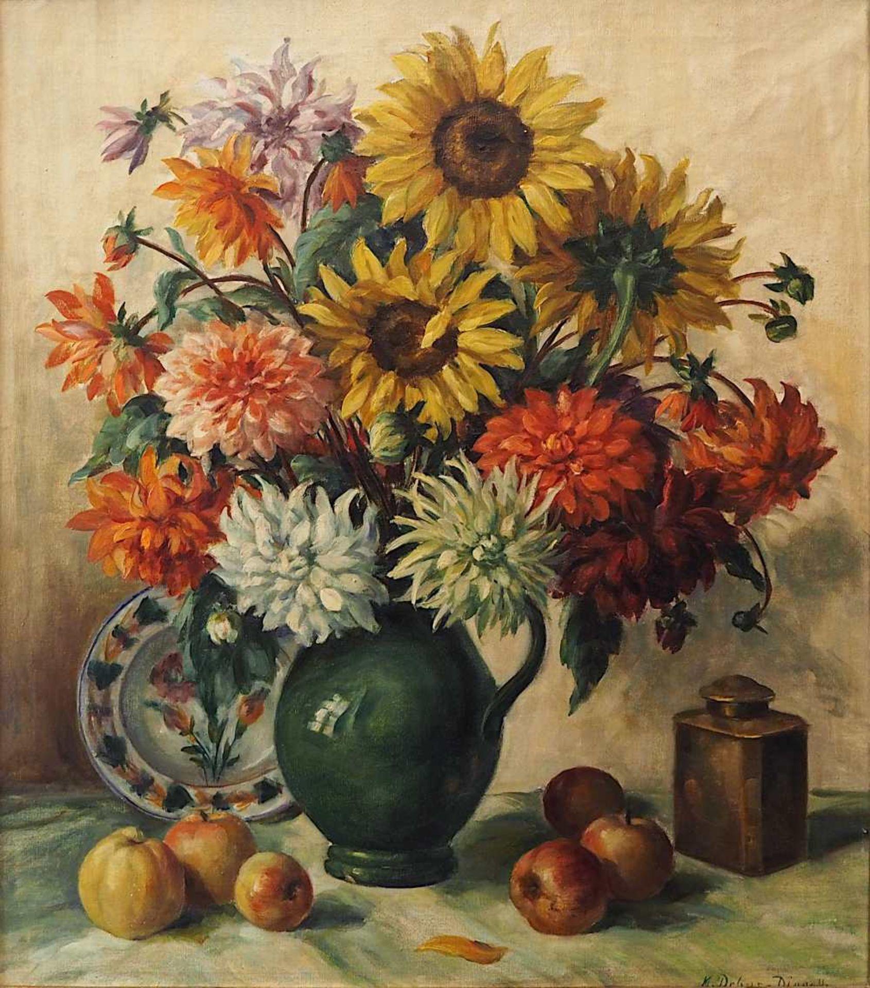 """1 Ölgemälde """"Blumenstillleben mit Sonnenblumen, Fayenceteller und Äpfeln"""" R.u. sign. M. DEBUS"""