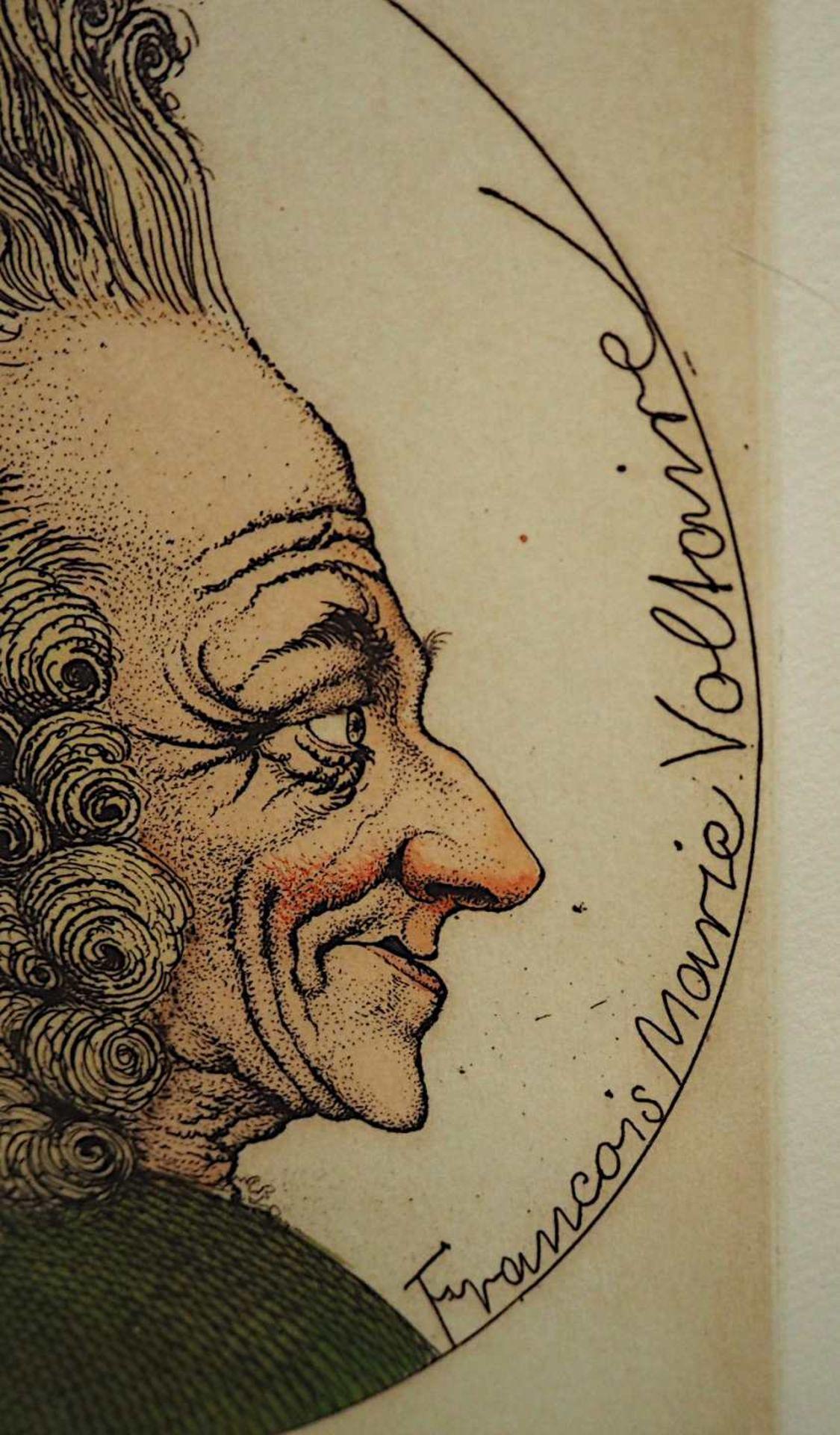 """1 Farbradierung R.u. bleistiftsign. M. M. PRECHTL (wohl Michael Mathias P. 1926-2003), """"Voltaire - Bild 4 aus 5"""