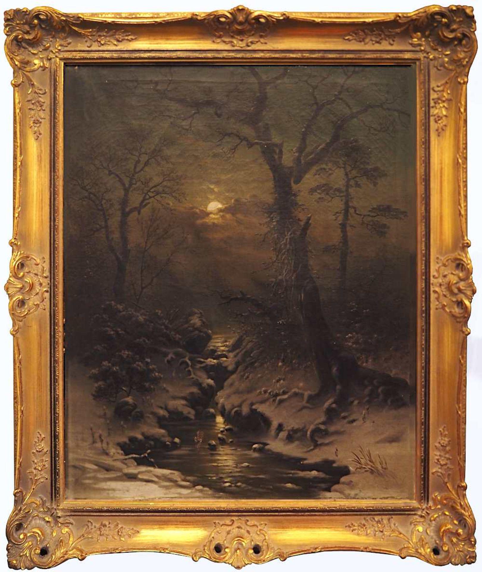 """1 Pendant Ölgemälde """"Winterliche Impressionen zur Abend- und Nachtstunde"""" je unsigniert <b - Bild 2 aus 2"""