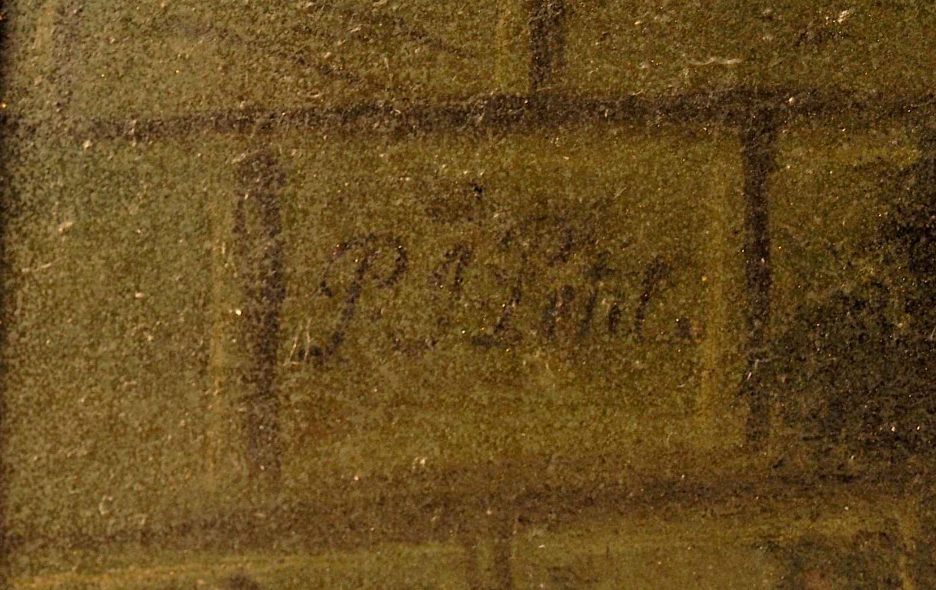 "1 Ölgemälde L.u. sign. P.J. PETIT (wohl Pierre-Joseph P. 1768-1825),""Musikabend im Freien"",</b - Bild 3 aus 4"